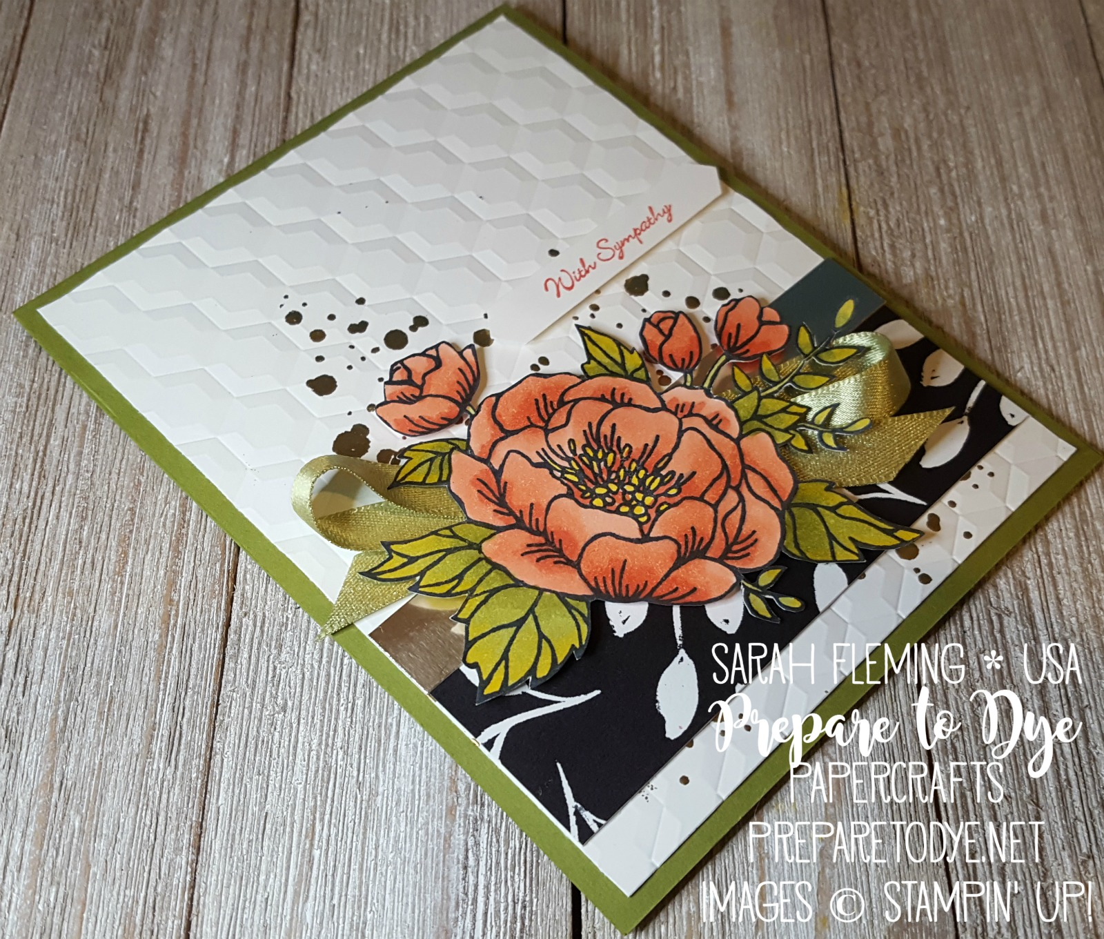 Stampin' Up! handmade sympathy card with Birthday Blooms, Teeny Tiny Wishes, Stampin' Blends, and Merry Little Christmas designer series paper - Sarah Fleming - Prepare to Dye Papercrafts #IIBH