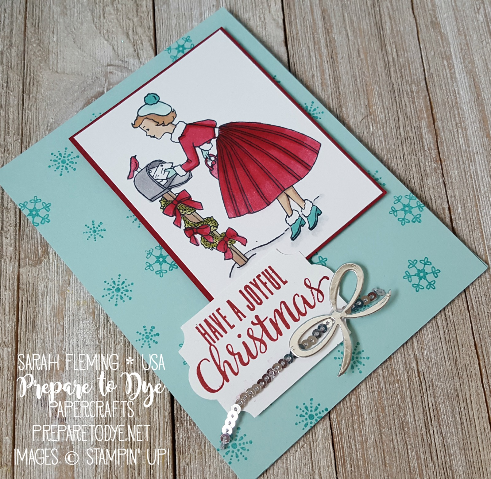 Stampin' Up! Christmas in the Making, Paper Pumpkin, and Merry Cafe stamps with Stampin' Blends alcohol markers - handmade Christmas card - Sarah Fleming - Prepare to Dye Papercrafts