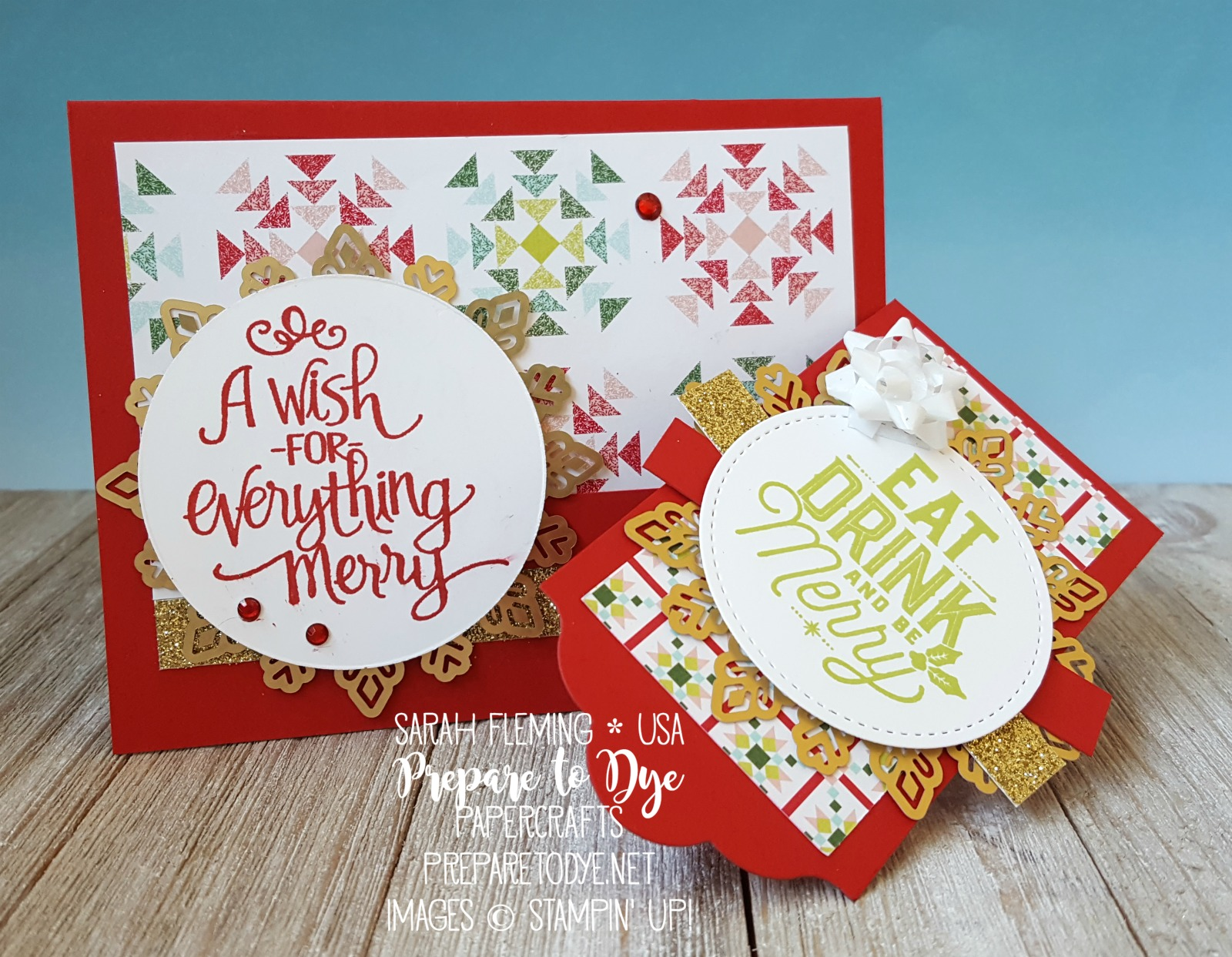 Stampin' Up! Ready for Christmas and Merry Little Labels stamps with Quilted Christmas paper and Foil Snowflakes - matching gift set with card & bottle tag - Sarah Fleming - Prepare to Dye Papercrafts