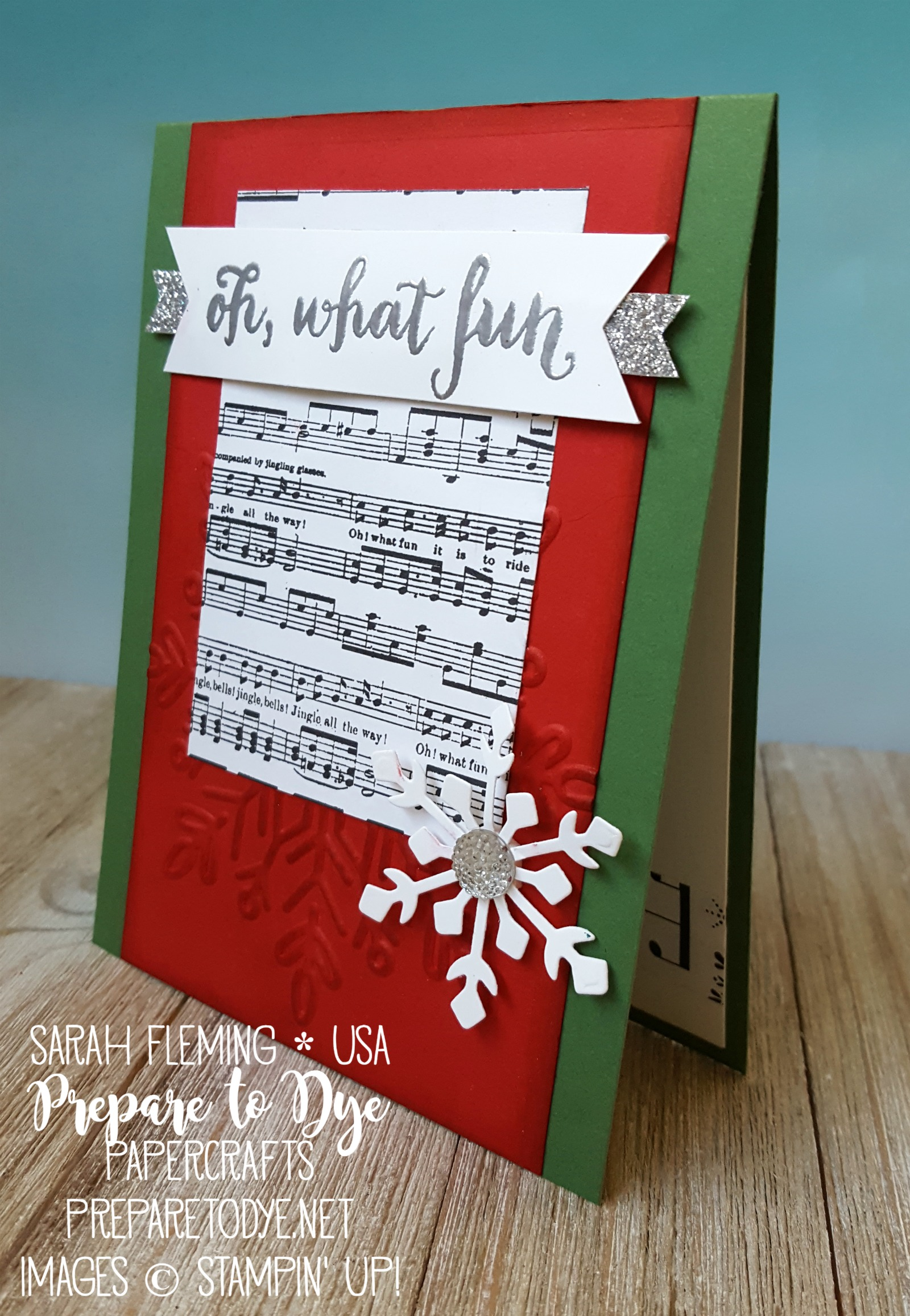 Stampin' Up! handmade Christmas card with Merry Music paper, Winter Wonder embossing folder, Trim Your Stocking thinlits, Oh What Fun stamp set - Sarah Fleming - Prepare to Dye Papercrafts