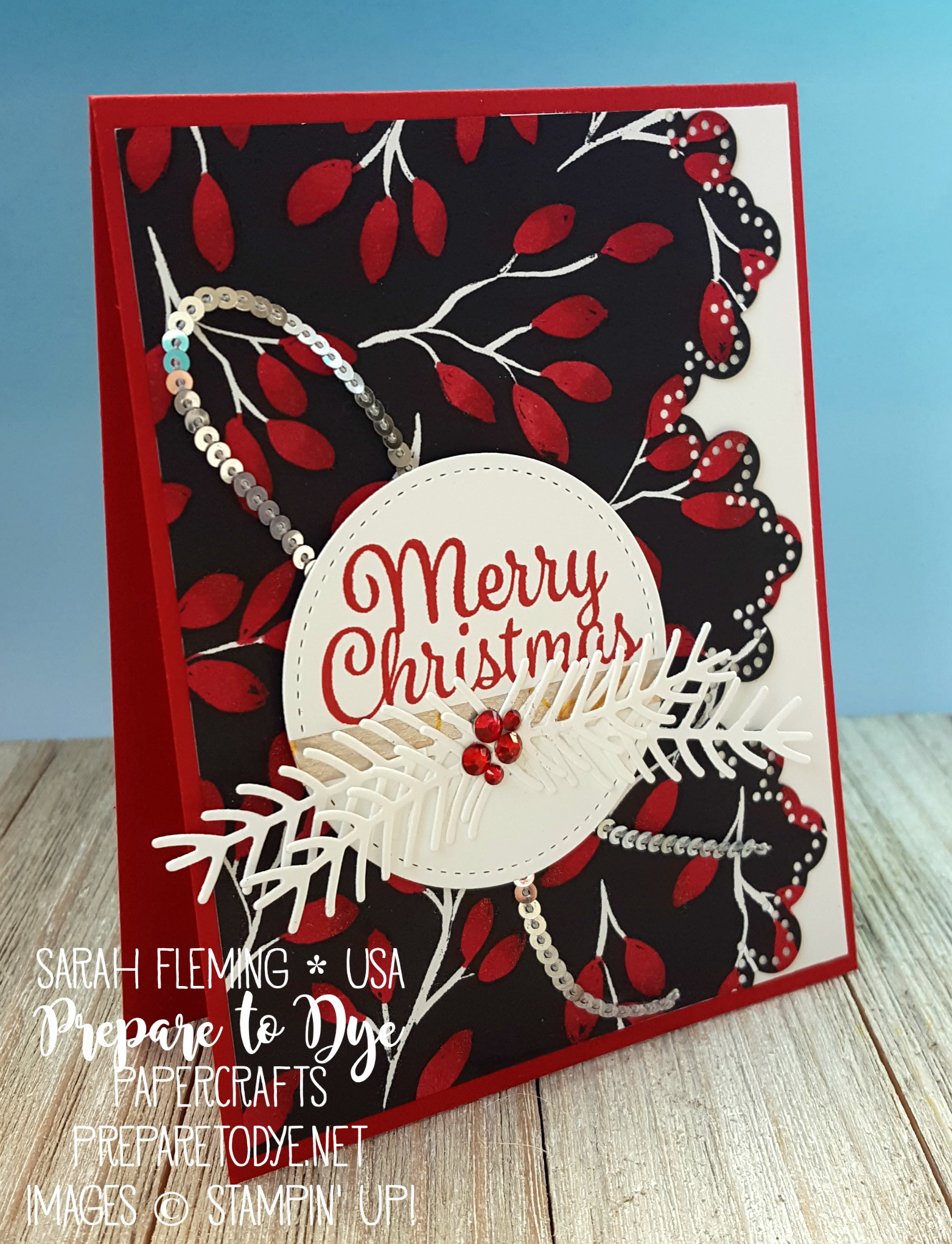 Stampin' Up! Snowflake Sentiments bundle, Pretty Pines thinlits, Swirly Snowflakes thinlits, Merry Little Christmas paper, Stampin' Blends - handmade Christmas card - Sarah Fleming - Prepare to Dye Papercrafts