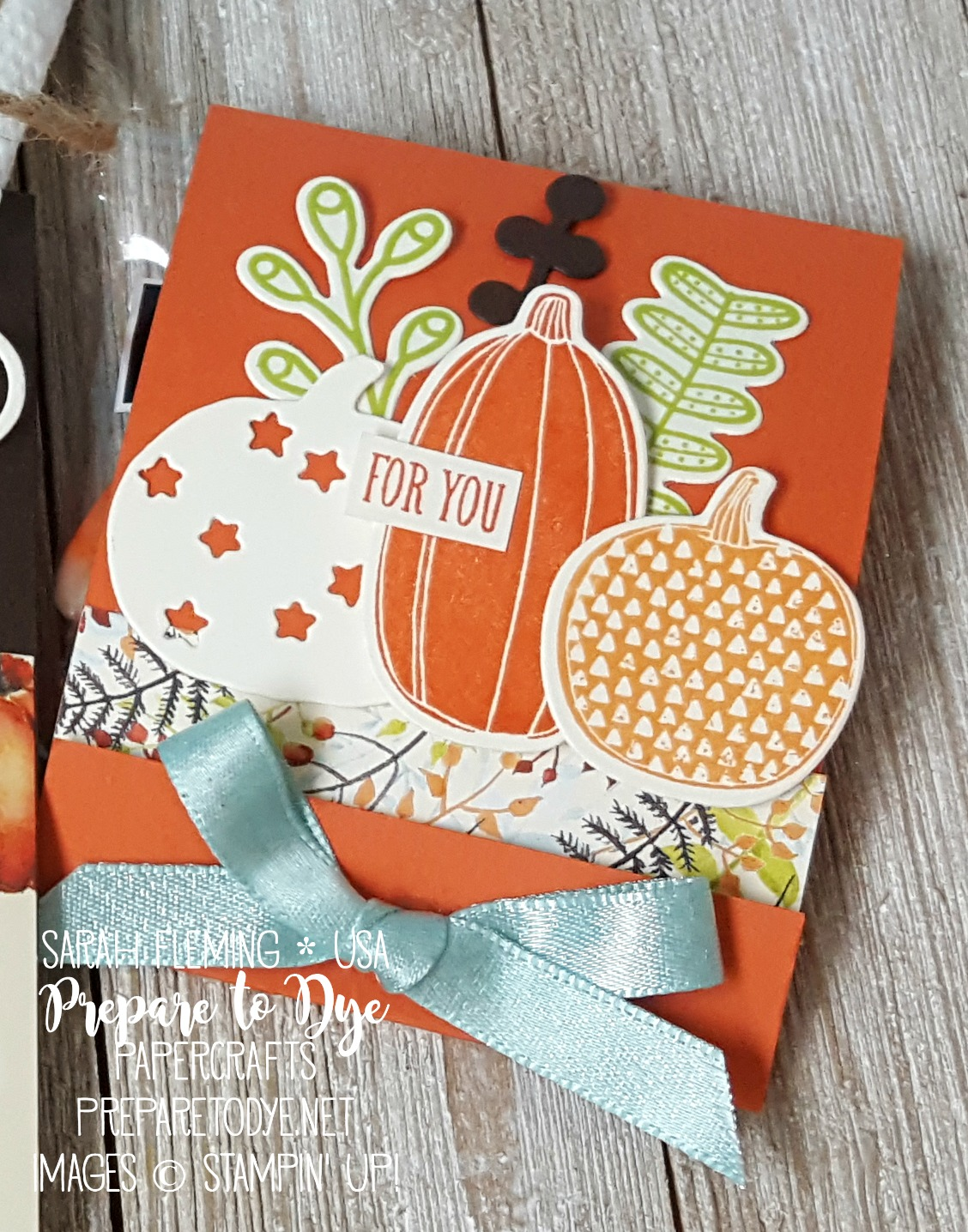 Stampin' Up! Pick a Pumpkin bundle with Patterned Pumpkin thinlits and Seasonal Layers thinlits, Painted Autumn paper - thanksgiving table decorations - Sarah Fleming - Prepare to Dye Papercrafts
