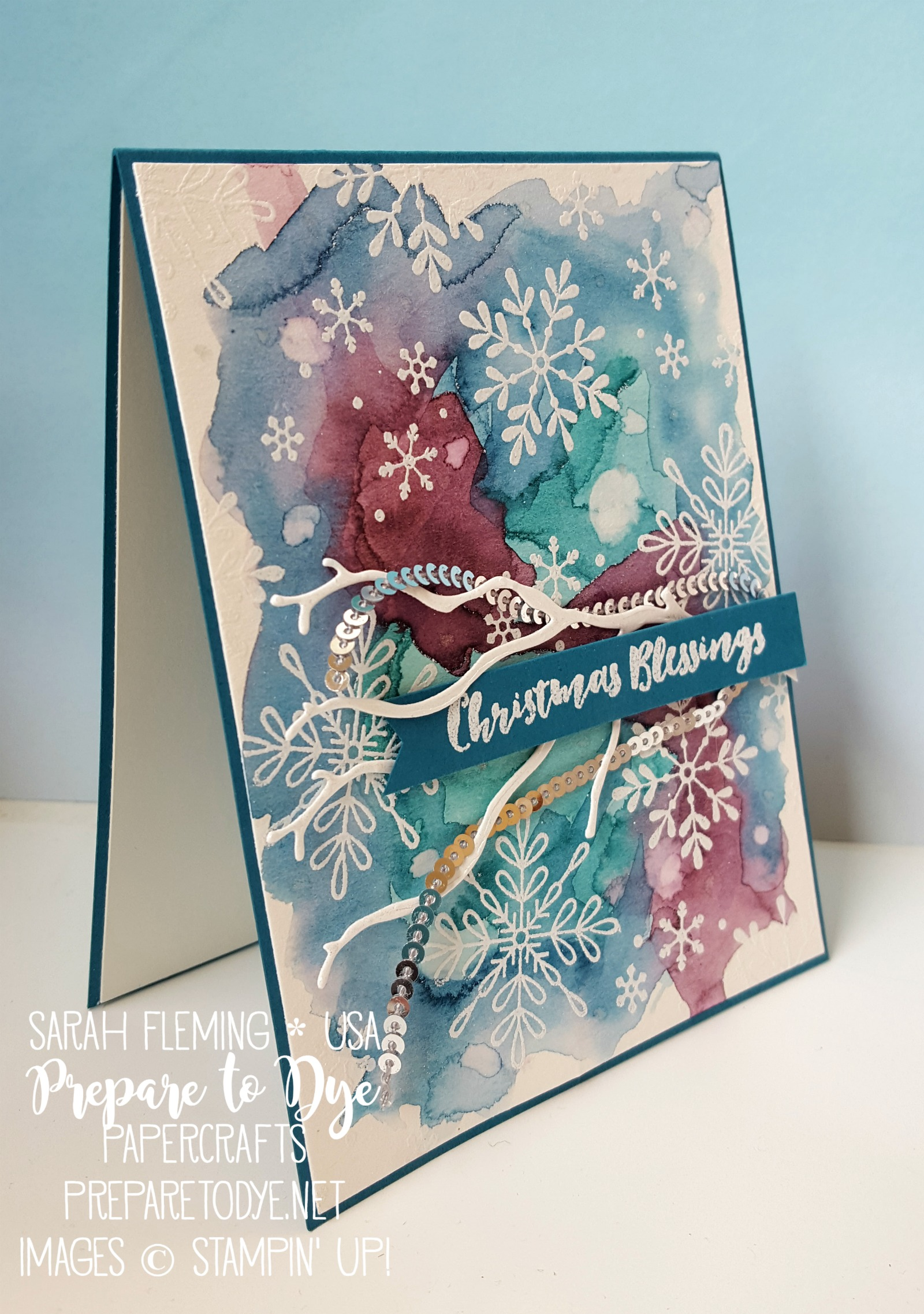 Stampin' Up! handmade Christmas card with watercolor background, Tags & Trimmings, Christmas Pines, Snowflake Sentiments, and Seasonal Layers thinlits - Sarah Fleming - Prepare to Dye Papercrafts