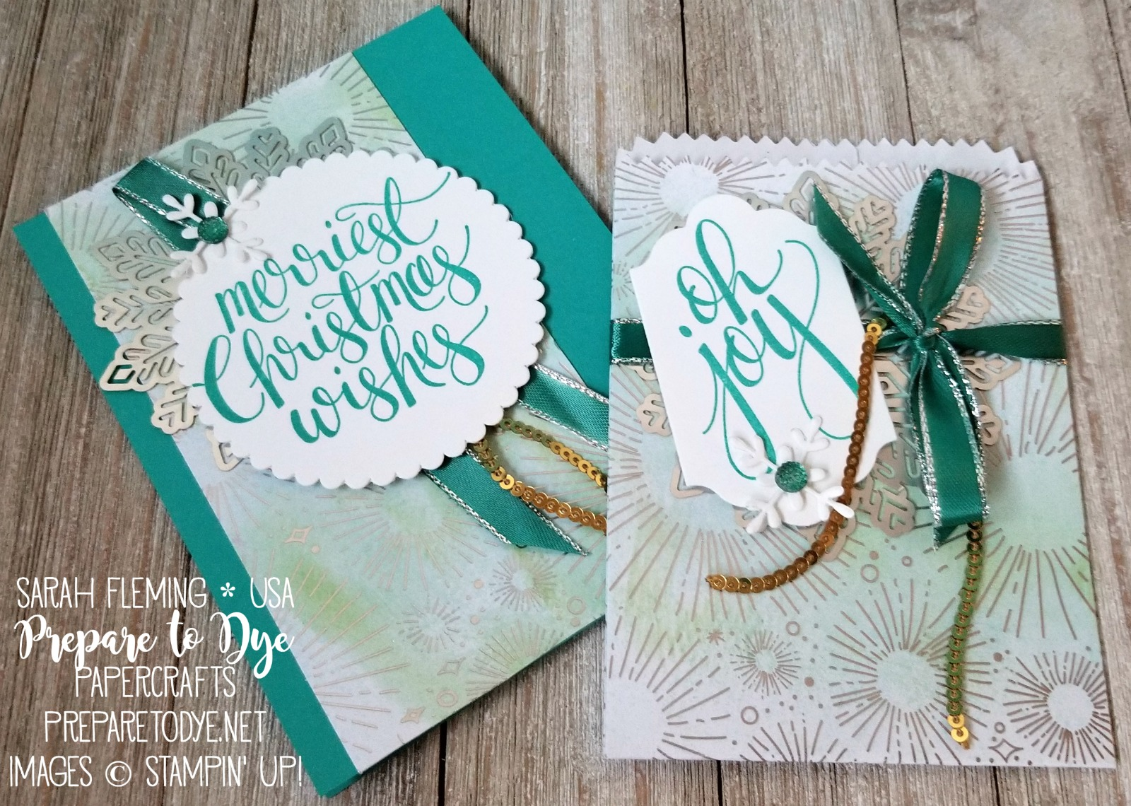 Stampin' Up! Mini Treat Bag thinlits with Year of Cheer Paper and Watercolor Christmas stamps - matching gift set with handmade card and treat bag - Sarah Fleming - Prepare to Dye Papercrafts