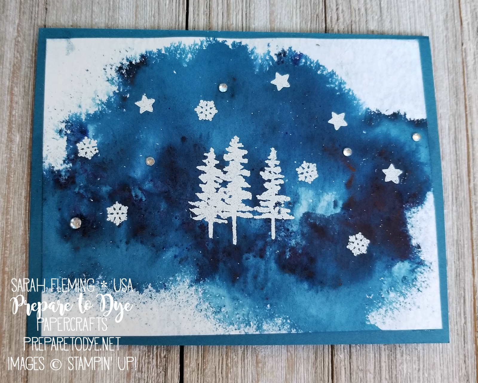 Stampin' Up! handmade Christmas card with Brusho colour crystals, Waterfront stamp set, Christmas Quilt stamp set - video tutorial - two Brusho techniques - Sarah Fleming - Prepare to Dye Papercrafts