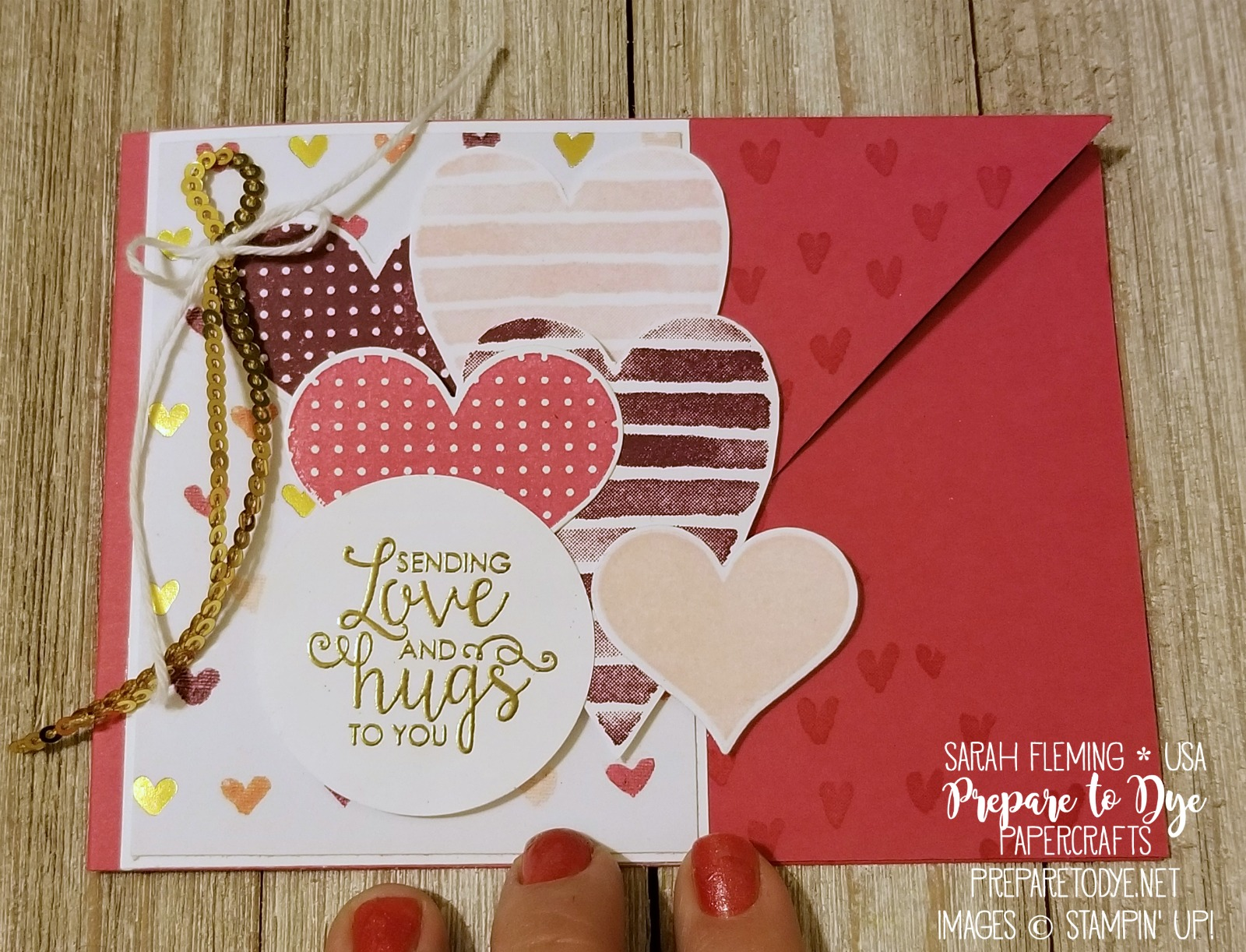 Stampin' Up! Heart Happiness and Ribbon of Courage stamps with Painted Love designer series paper - New Occasions 2018 catalog items - Sarah Fleming - Prepare to Dye Papercrafts - #IIBH