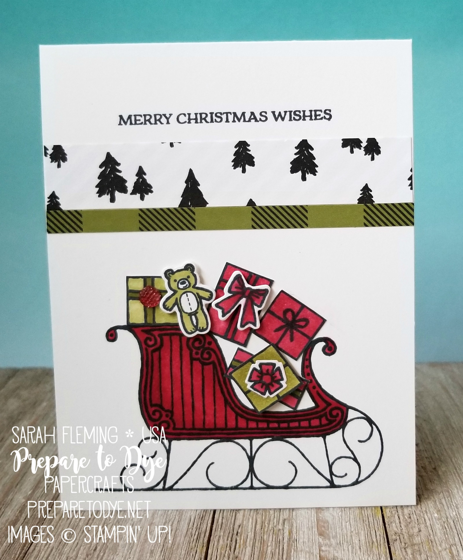Stampin' Blends Marker Club November projects - Santa's Sleigh stamps, Santa's Sleigh thinlits, Merry Little Christmas paper - Sarah Fleming - Prepare to Dye Papercrafts