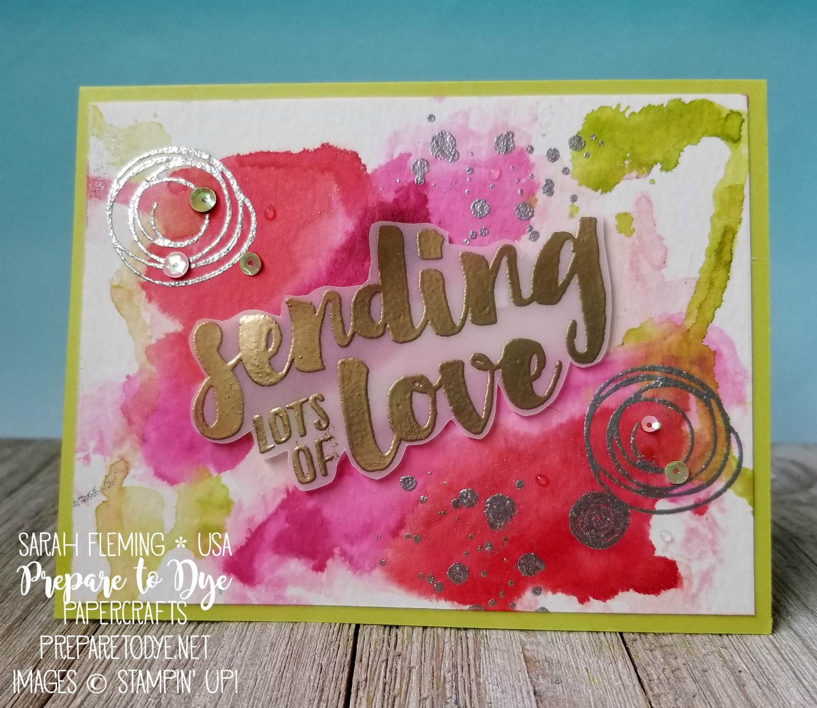 Stampin' Up! Lots of Love stamp set with Swirly Bird, watercolor with Aqua Painters and reinkers, handmade love card - Sarah Fleming - Prepare to Dye Papercrafts