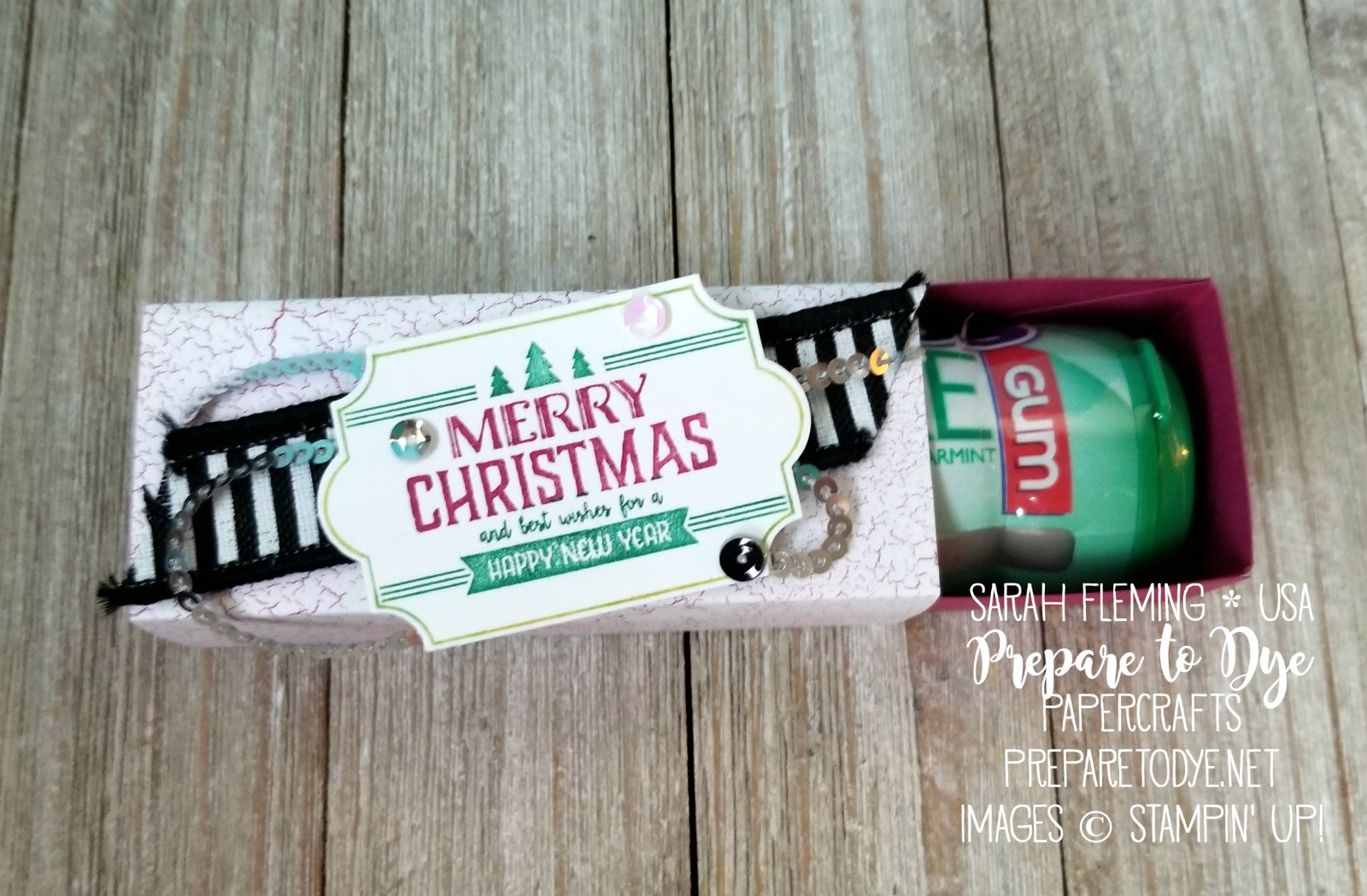 Stampin' Up! Labels to Love slider box - video tutorial - treat packaging for Mentos gum - Sarah Fleming - Prepare to Dye Papercrafts