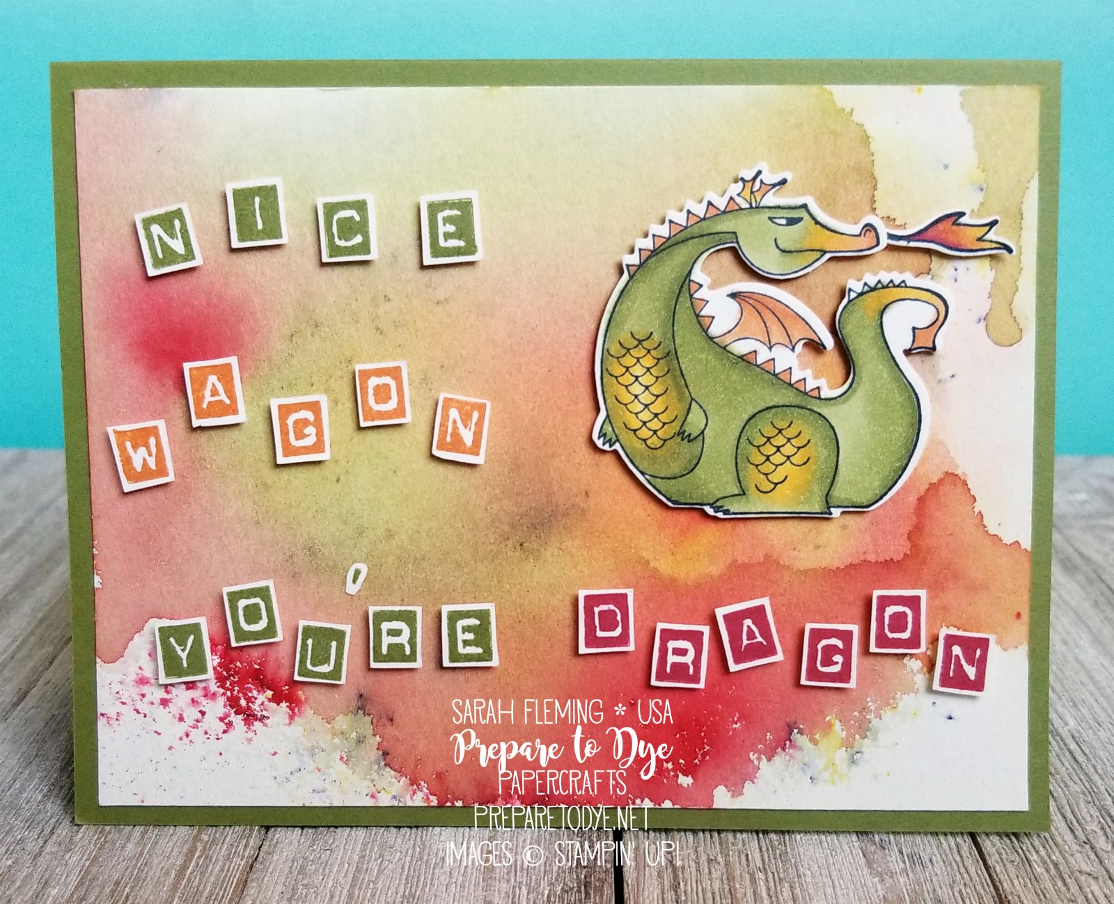 Stampin' Up! handmade punny card - Magical Day stamp set, Brusho background, fun card for friends - dragons - Sarah Fleming - Prepare to Dye Papercrafts