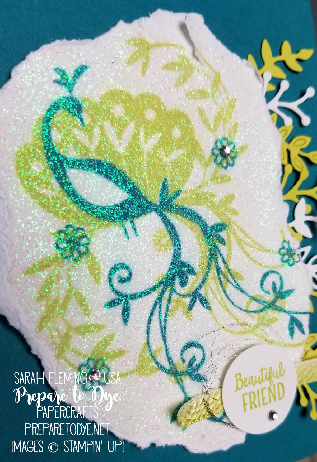 "Stampin' Up! Beautiful Peacock - FREE Sale-A-Bration 2018 stamp set - with Shimmery White embossing paste, Sweet Cake framelits, Lemon-Lime Twist 1/4"" Ombre Ribbon - handmade friend card video tutorial - Sarah Fleming - Prepare to Dye Papercrafts"