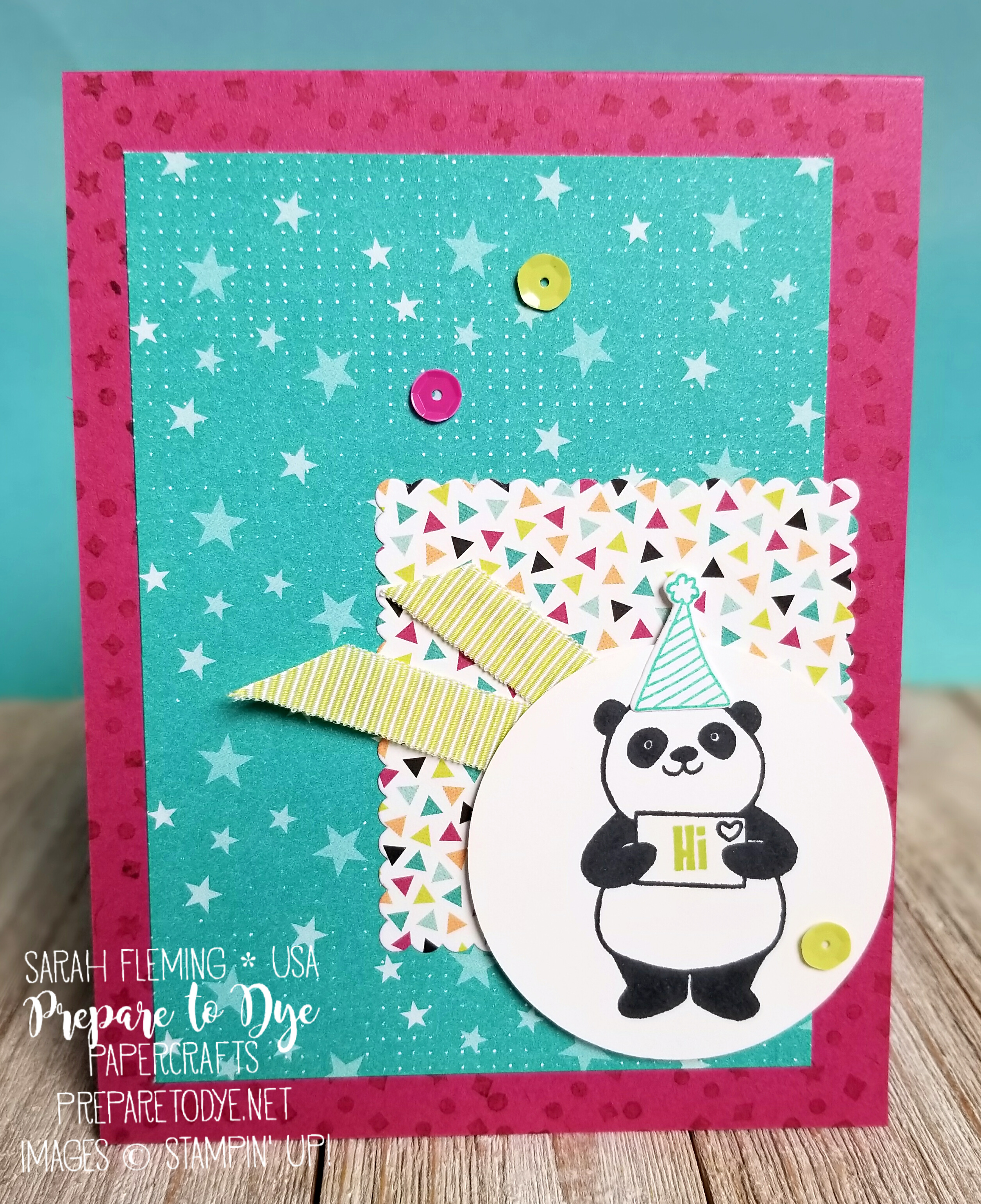 Stampin' Up! Party Pandas - free Sale-A-Bration stamp set - with Bubbles & Fizz paper - also free - and Picture Perfect Party paper - Sarah Fleming - Prepare to Dye Papercrafts