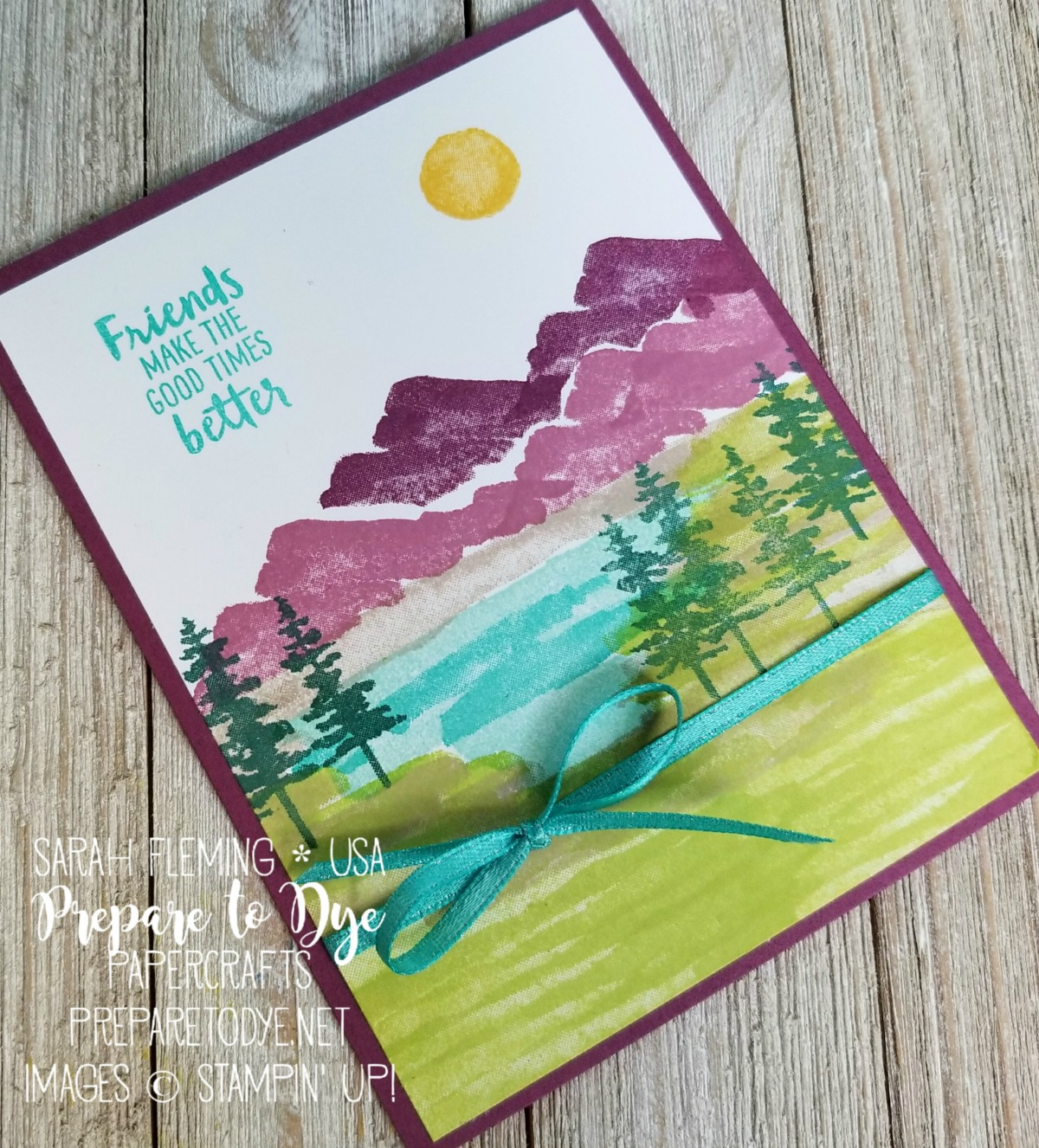 Stampin' Up! Waterfront stamp set - handmade thank you card - Occasions 2018, FREE Sale-A-Bration ribbon - Sarah Fleming - Prepare to Dye Papercrafts