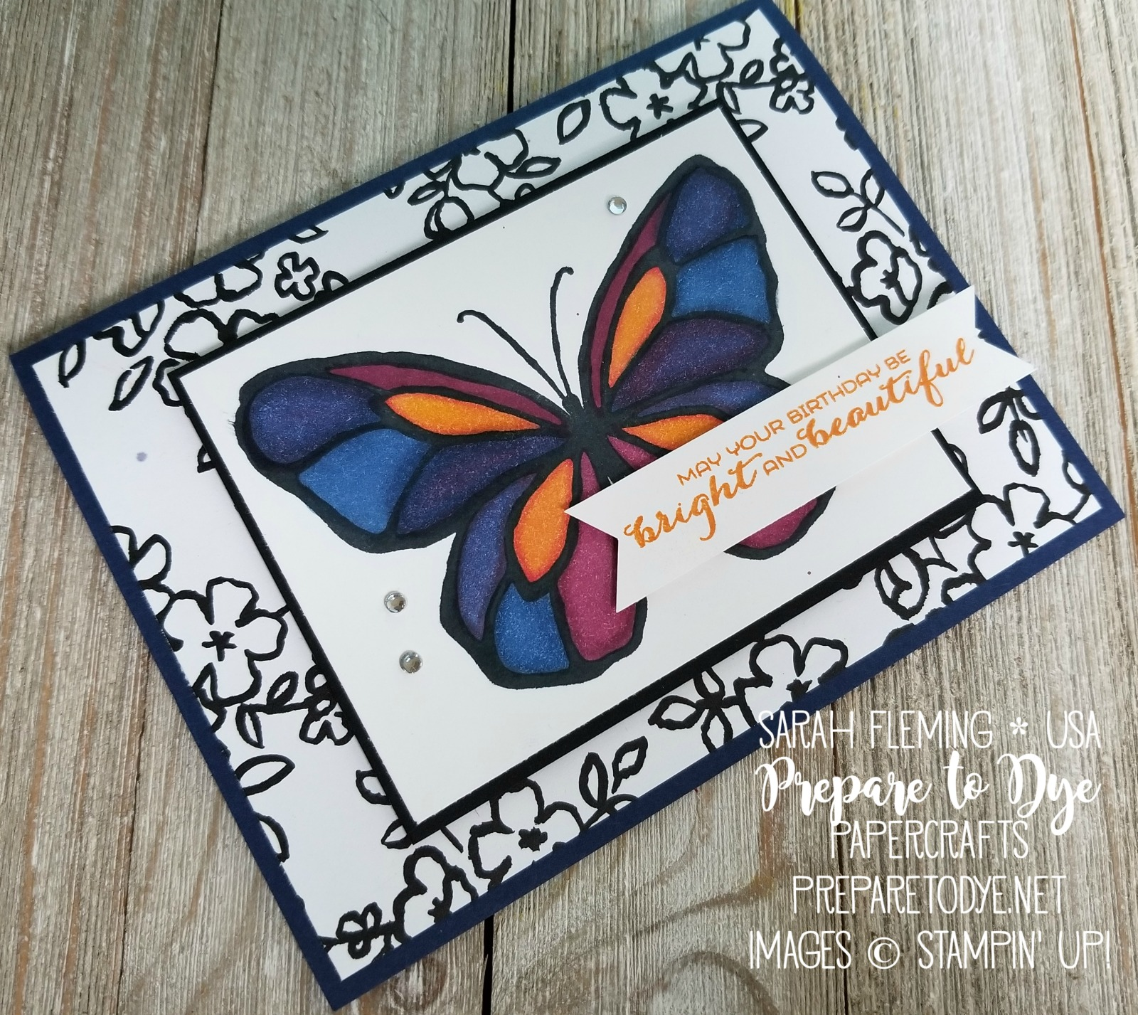 Stampin' Up! Beautiful Day with Petal Palette paper, Sunshine & Rainbows sentiment, and Stampin' Blends - handmade friend or birthday card - Sarah Fleming - Prepare to Dye Papercrafts