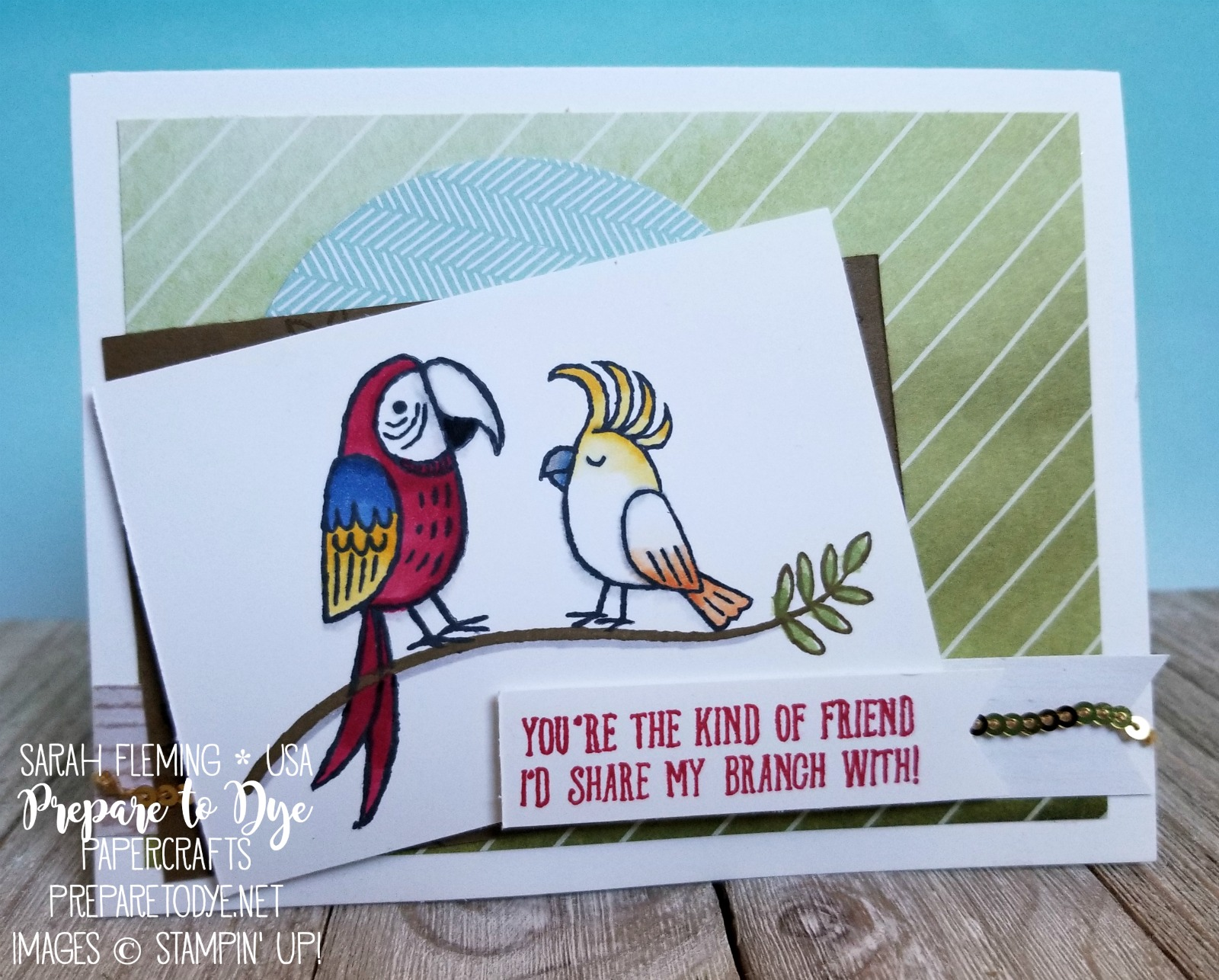 Stampin' Up! Bird Banter - handmade friend card - Delightful Daisy & Coffee Break paper - Sarah Fleming - Prepare to Dye Papercrafts #GDP120