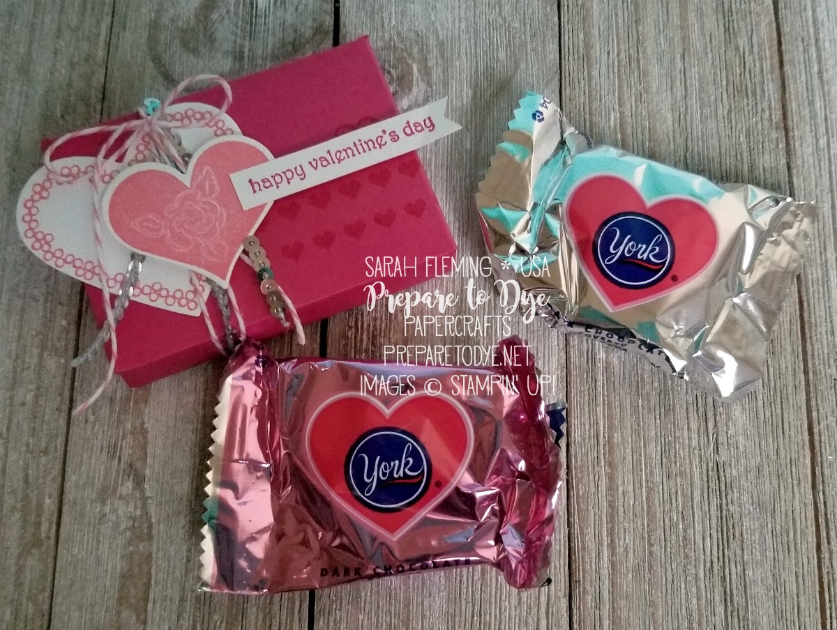 Stampin' Up! Heart Happiness & Teeny Tiny Wishes handmade treat box for York peppermint patties - Valentine's Day - Love - Sarah Fleming - Prepare to Dye Papercrafts #SDBH
