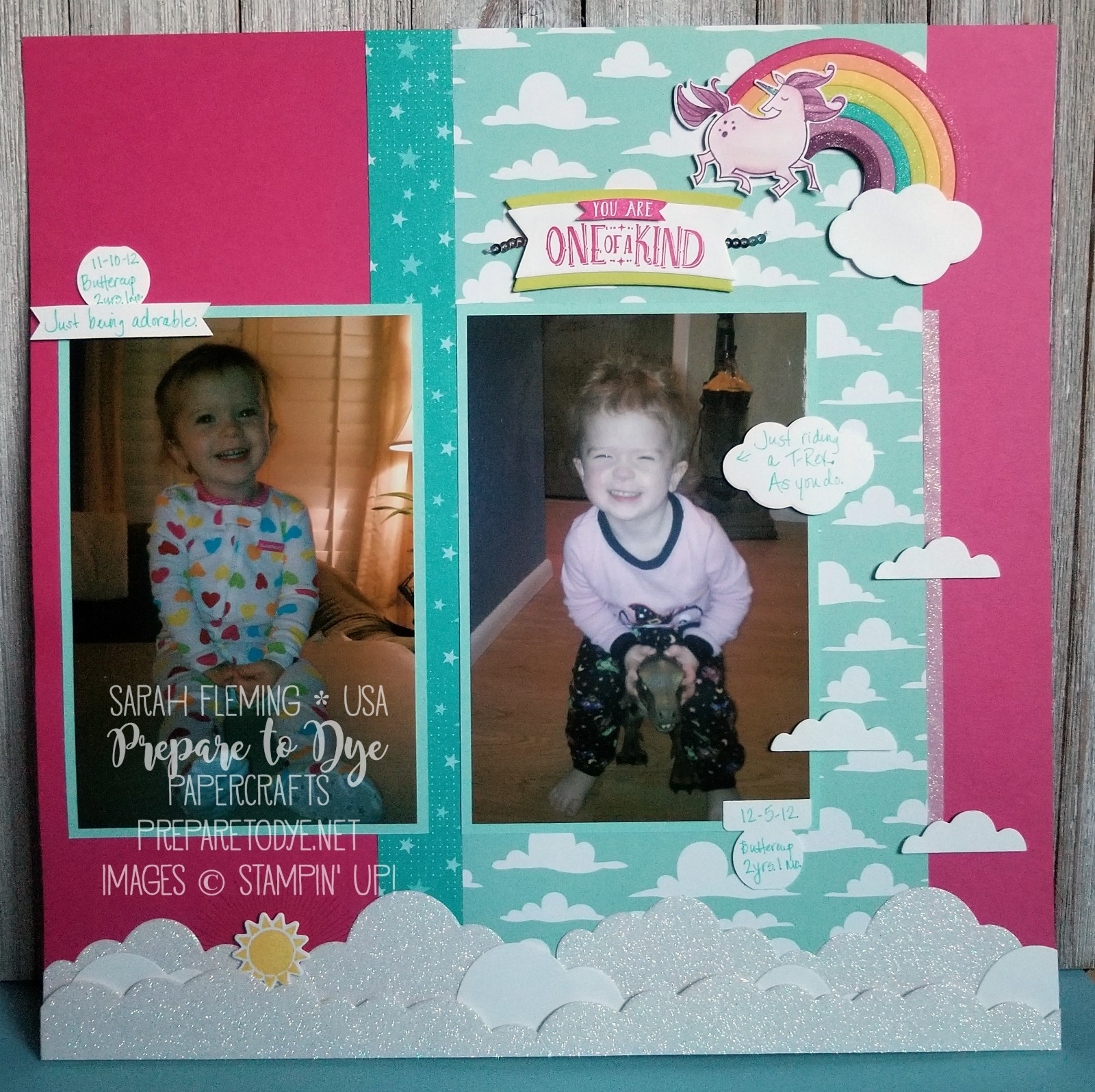 Stampin' Up! Magical Day scrapbook page, Magical Mates framelits, Sunshine & Rainbows, Rainbow Builder framelits, one of a kind layout, Myths & Magic paper - Sarah Fleming - Prepare to Dye Papercrafts