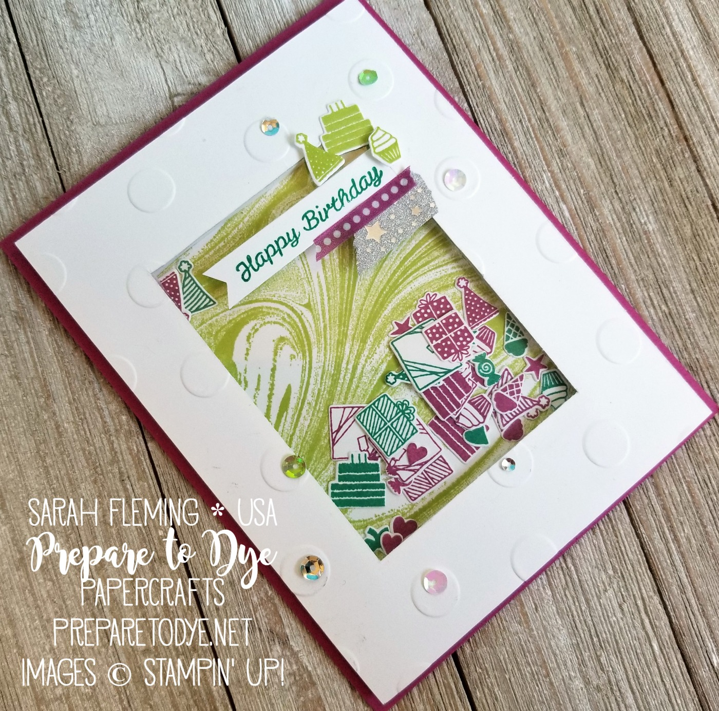Stampin' Up! handmade birthday shaker card using Party Hat Birthday & Party Hat Builder framelits, Marbled background stamp, washi tape - Sarah Fleming - Prepare to Dye Papercrafts