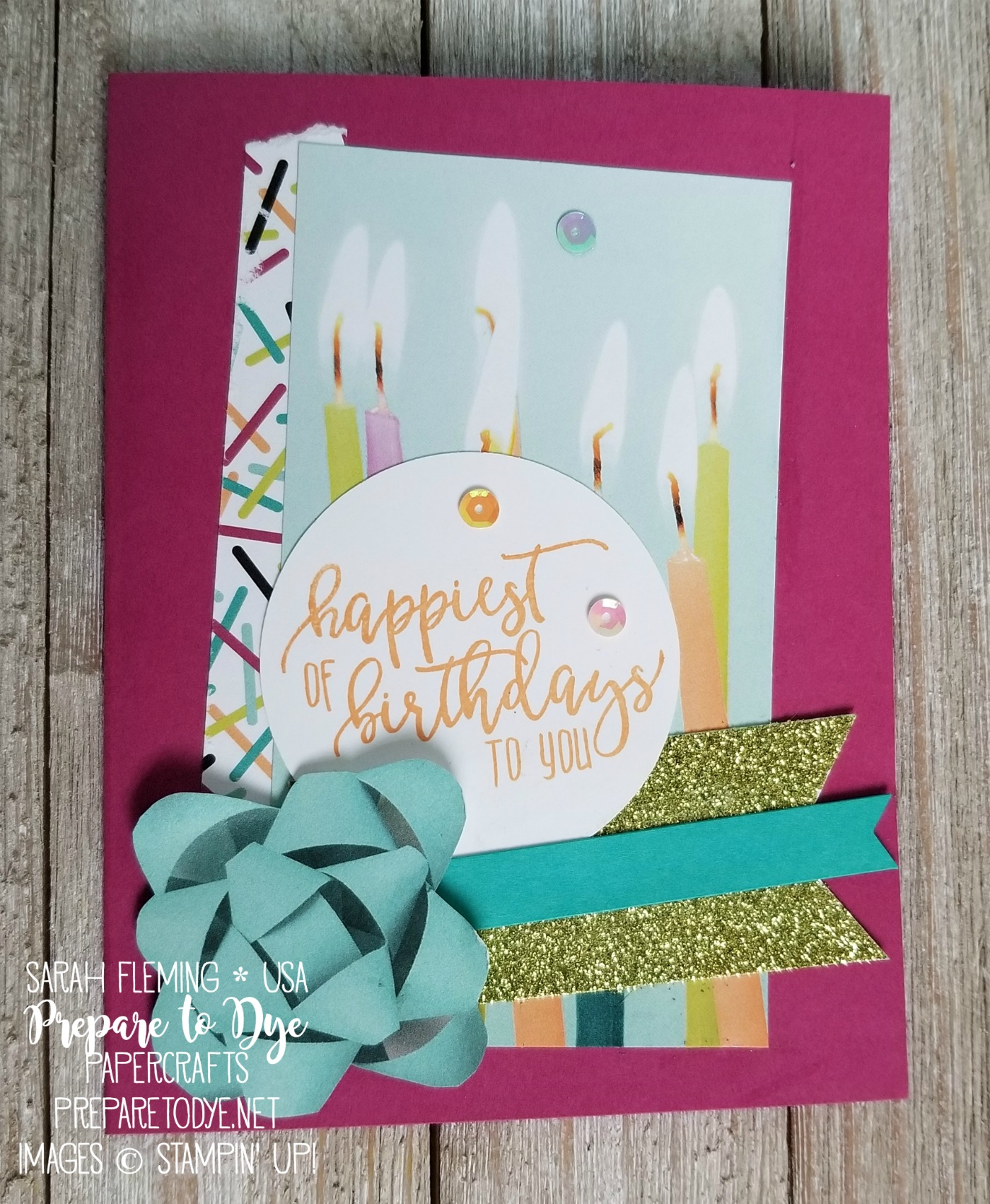 Stampin' Up! Picture Perfect Birthday with Picture Perfect Party paper, Myths & Magic Glimmer Paper - handmade birthday card - Sarah Fleming - Prepare to Dye Papercrafts