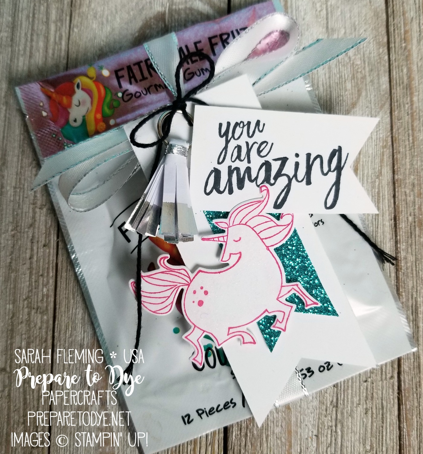 Stampin' Up! Magical Day with Magical Mates framelits, Brusho, All Things Thanks, Magical Mermaid - handmade unicorn magic gift set with Fairytale Gum - Sarah Fleming - Prepare to Dye Papercrafts