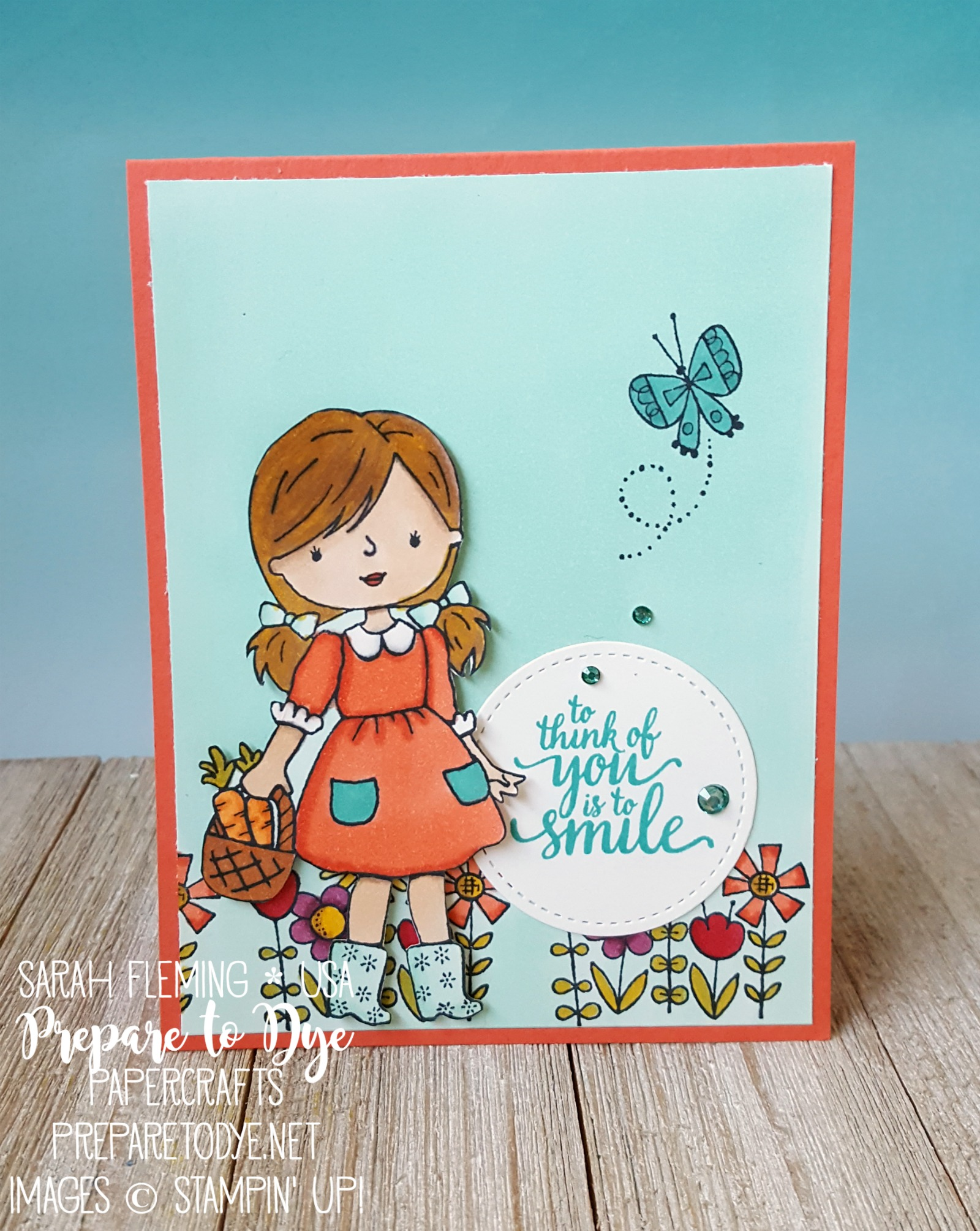 Stampin' Up! Garden Girl with Eastern Beauty and Stampin' Blends alcohol marker - handmade friend card - Sarah Fleming - Prepare to Dye Papercrafts