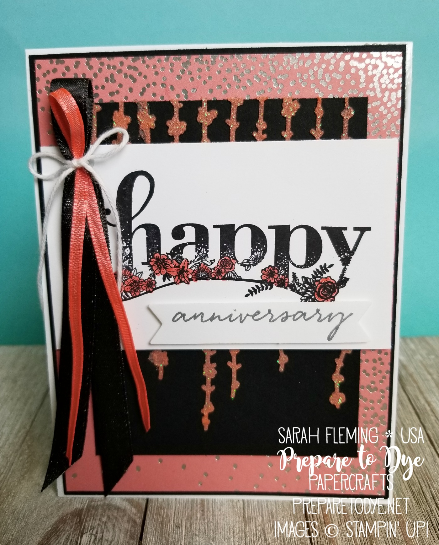 Stampin' Up! Happy Wishes handmade anniversary card with embossing paste, heat embossing, Sweet Soiree decorative masks - Sarah Fleming - Prepare to Dye Papercrafts