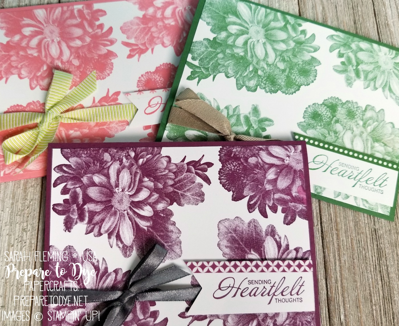 Stampin' Up! Heartfelt Blooms with washi tape - Sale-A-Bration freebie stamp set with $50 purchase through March 31 - Sarah Fleming - Prepare to Dye Papercrafts