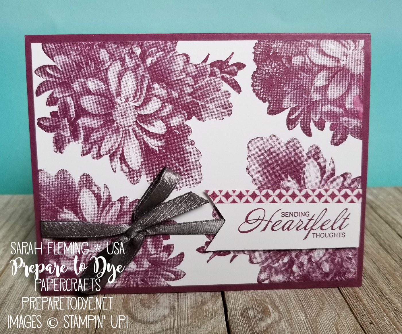 Stampin' Up! Heartfelt Blooms - Sale-A-Bration freebie with $50 purchase - Basics Pack 1 washi tape, Shimmer Ribbon Pack - Free Sale-A-Bration item with purchase - handmade sympathy get well card - Sarah Fleming - Prepare to Dye Papercrafts