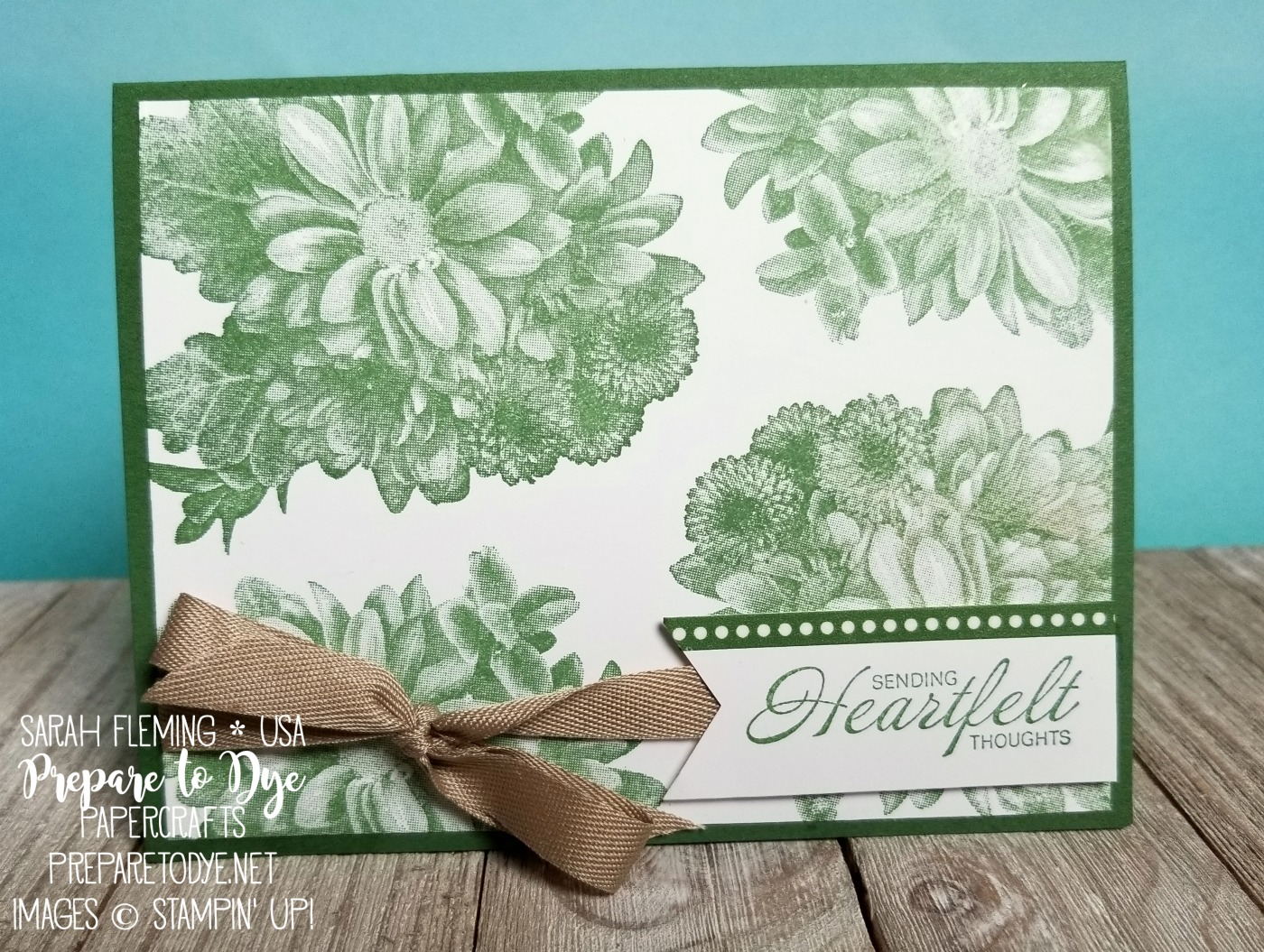 Stampin' Up! Heartfelt Blooms - Sale-A-Bration freebie with $50 purchase - Basics Pack 2 washi tape, Crumb Cake Classic Weave Ribbon - handmade sympathy get well card - Sarah Fleming - Prepare to Dye Papercrafts