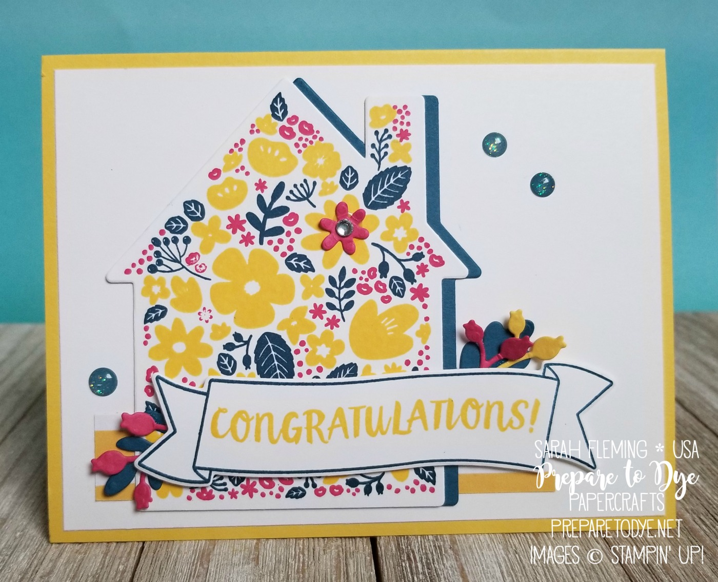 Stampin' Up! Home Life bundle with Welcome Home framelits & Glitter Enamel Dots - Sarah Fleming - Prepare to Dye Papercrafts