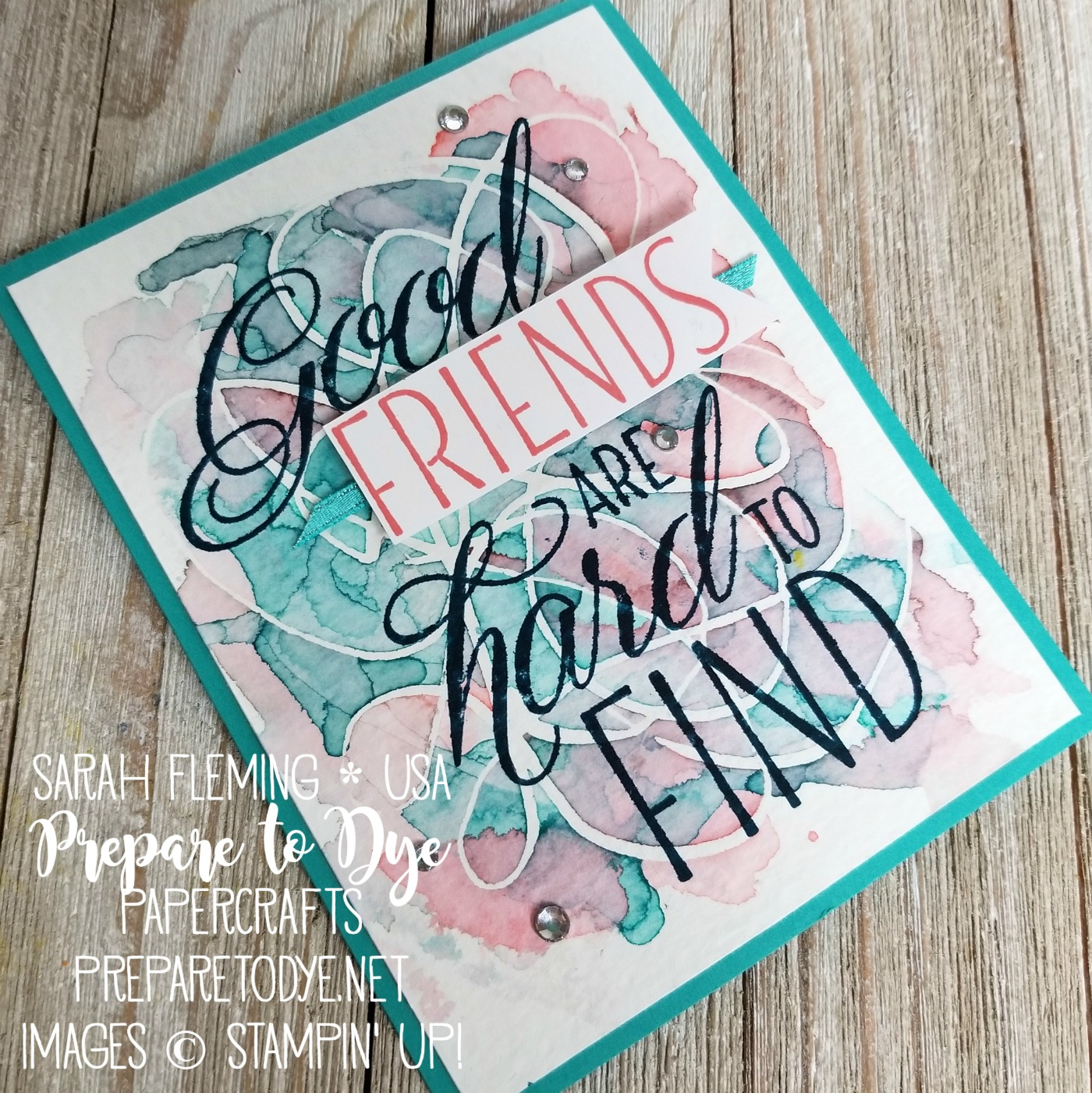 Stampin' Up! Lovely Friends with watercolor wash background and masking fluid - Ink & Inspiration Blog Hop - Sarah Fleming - Prepare to Dye Papercrafts