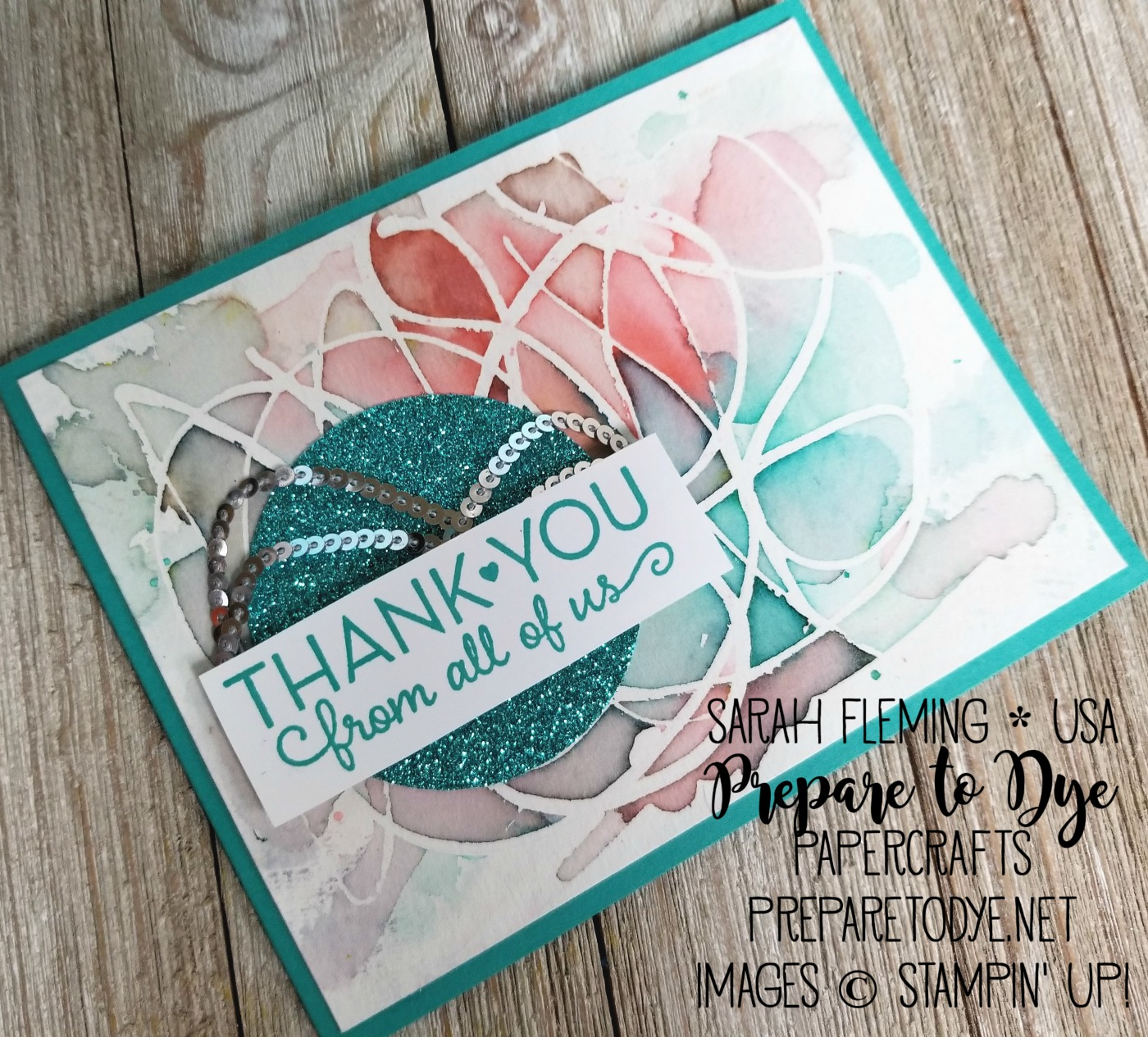 Stampin' Up! watercolor background with masking fluid, Myths & Magic Glimmer Paper, One Big Meaning - Ink & Inspiration Blog Hop - Sarah Fleming - Prepare to Dye Papercrafts