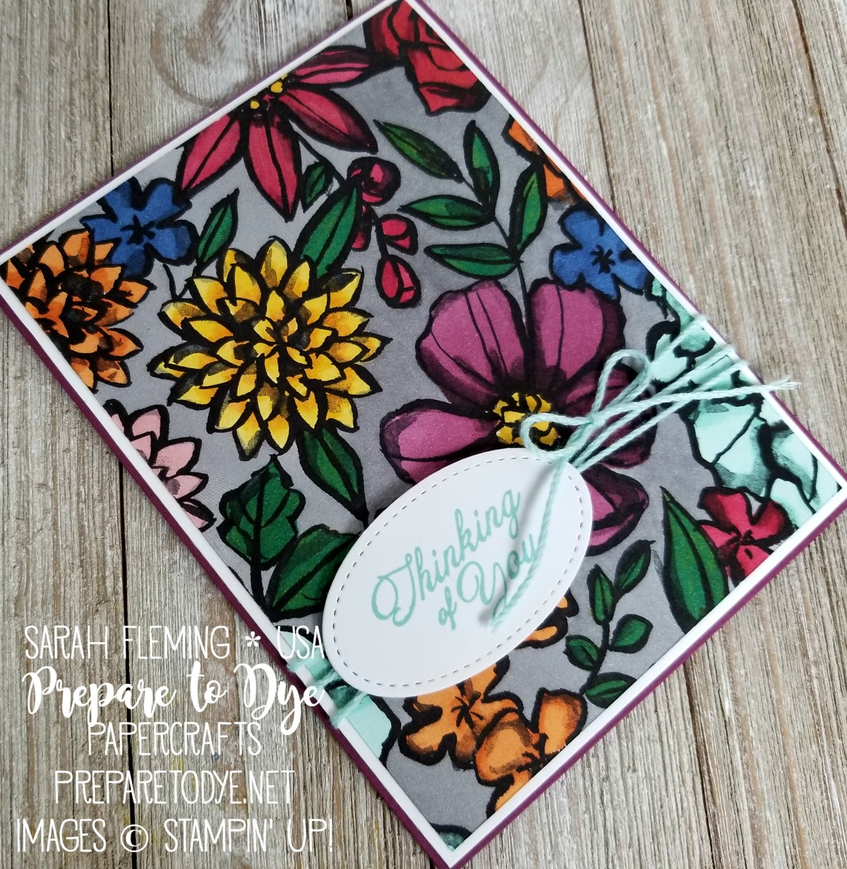 Stampin' Up! Petal Passion designer series paper with Stampin' Blends alcohol markers coloring, Heartfelt Blooms, free with $50 purchase during Sale-A-Bration - Sarah Fleming - Prepare to Dye Papercrafts