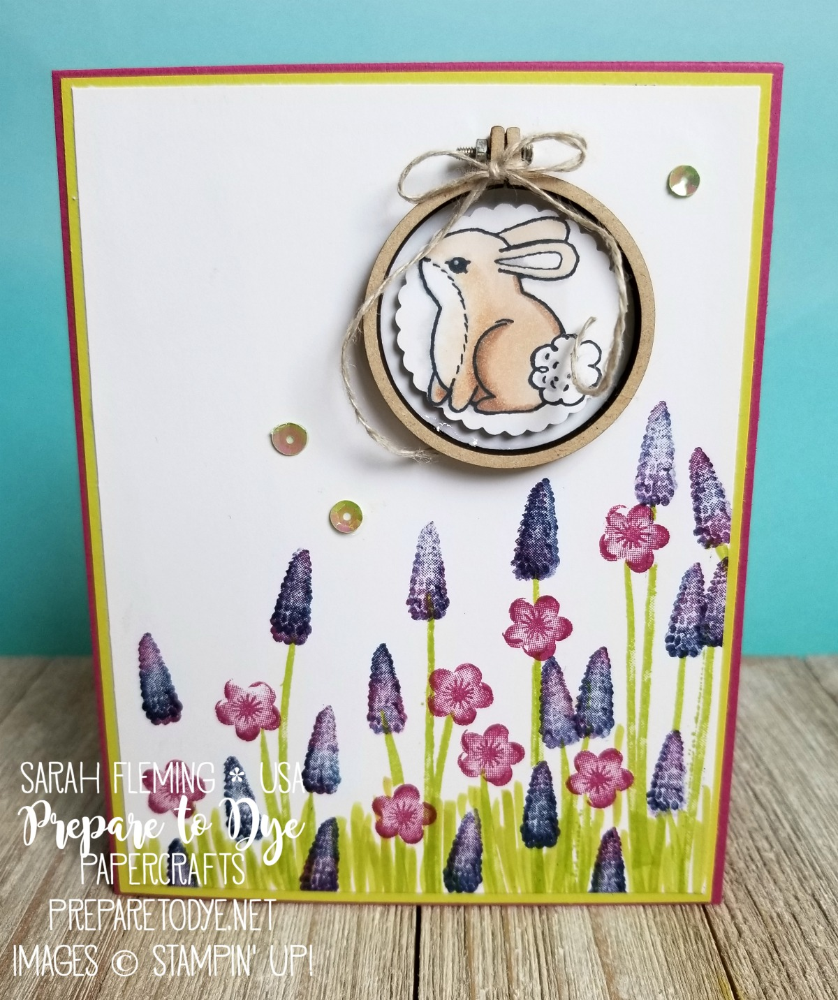 Stampin' Up! handmade Easter card using Garden Girl with Tranquil Tulips, Mini Embroidery Hoops, Stampin' Blends, baby wipe technique, Texas bluebonnets - Sarah Fleming - Prepare to Dye Papercrafts