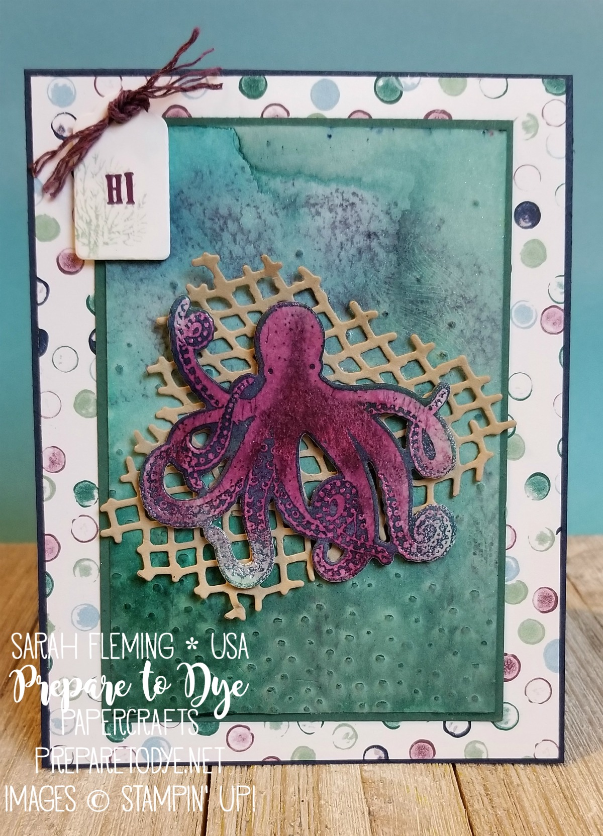 Stampin' Up! Sea of Textures with Under the Sea Framelits and Tranquil Textures paper, Pick a Pennant, Wood Crate Framelits, Softly Falling embossing folder, Nature's Twine - Sarah Fleming - Prepare to Dye Papercrafts #IIBH