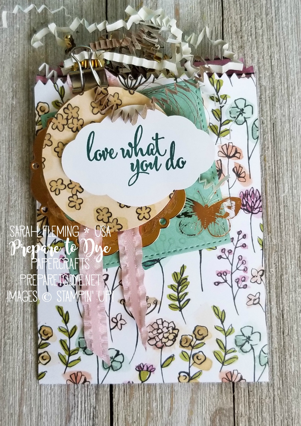 Stampin' Up! Share What You Love paper with Love What You Do stamp set, Pretty Label punch, Mini Treat Bag Thinlits - Sarah Fleming - Prepare to Dye Papercrafts