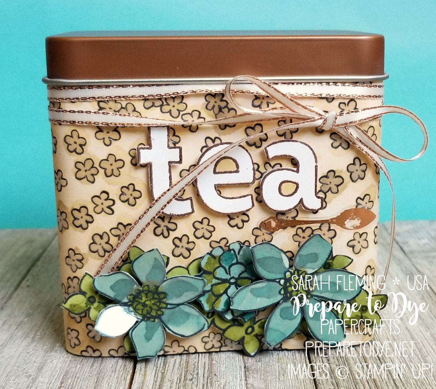 Stampin' Up! Share What You Love paper with Copper Tea Tins and Lined Alphabet - 2018-2019 annual catalog - Sarah Fleming - Prepare to Dye Papercrafts