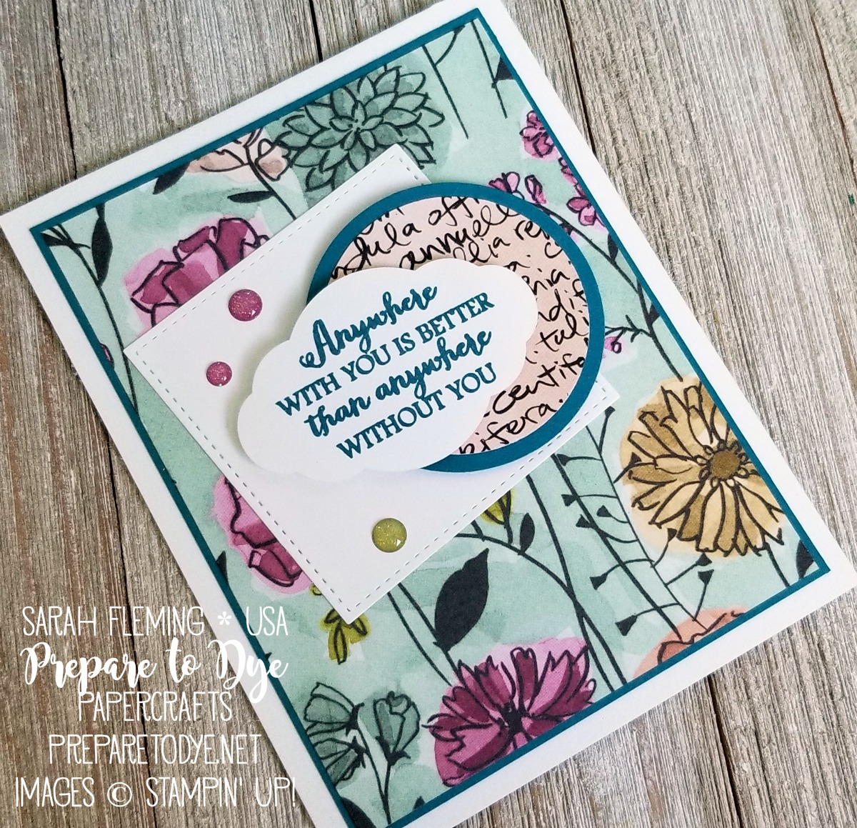 Stampin' Up! Share What You Love paper with Sitting Pretty stamps - 2018-2019 Annual Catalog - Sarah Fleming - Prepare to Dye Papercrafts