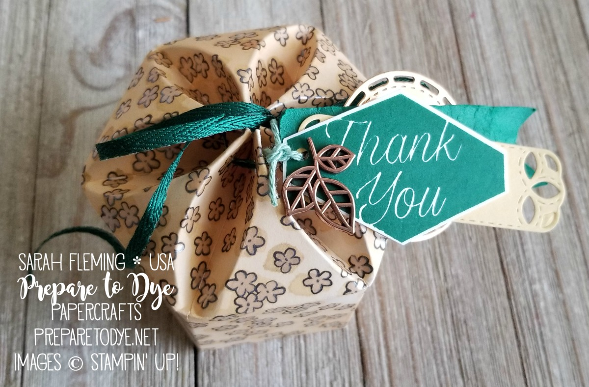 Stampin' Up! flower-shaped box using Share What You Love paper, Accented Blooms, Tailored Tag punch, Metallic Ribbon, Stitched Labels framelits - Sarah Fleming - Prepare to Dye Papercrafts
