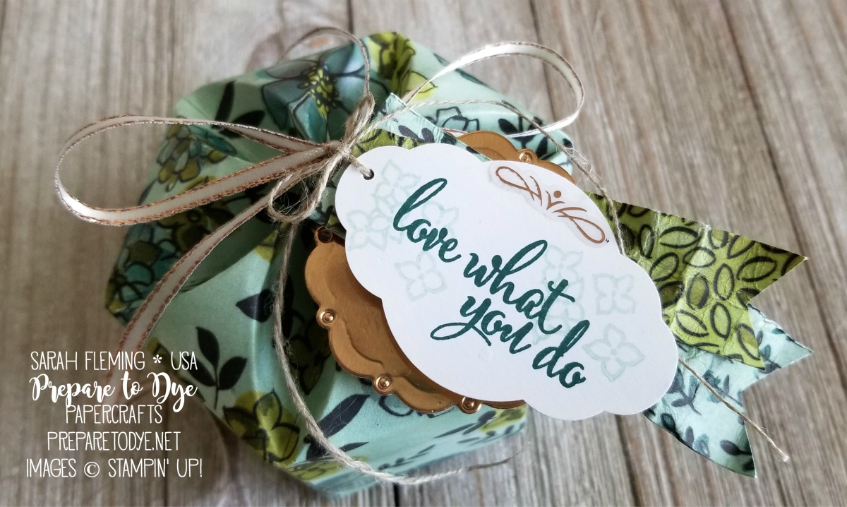 Stampin' Up! flower-shaped box using Share What You Love paper, Love What You Do, Pretty Label punch, Tea Room Ribbon, Stitched Labels framelits, Spot of Tea framelits - Sarah Fleming - Prepare to Dye Papercrafts