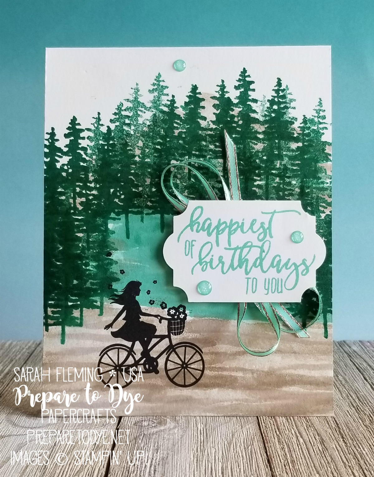 Stampin' Up! One For All, Picture Perfect Birthday, Waterfront stamps with Everyday Label Punch and Glitter Enamel Dots - Stamp, Ink, Paper Challenge - Sarah Fleming - Prepare to Dye Papercrafts