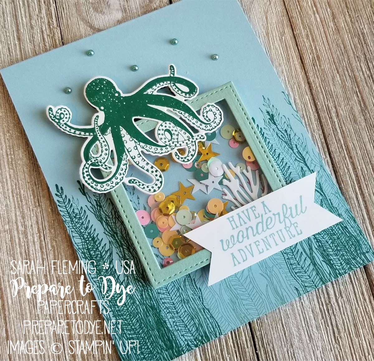 Stampin' Up! Sea of Textures and Magical Mermaid card, Under the Sea framelits, Artisan Pearls, Stitched Shapes framelits - Sarah Fleming - Prepare to Dye Papercrafts #SIP156