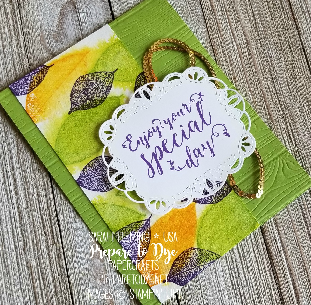 Stampin' Up! Rooted in Nature and Stitched All Around - new stamp sets in 2018-2019 annual catalog - with Stitched Labels framelits, Pinewood Planks embossing folder, and new colors Granny Apple Green, Mango Melody, Gorgeous Grape - live crafting video - Sarah Fleming - Prepare to Dye Papercrafts