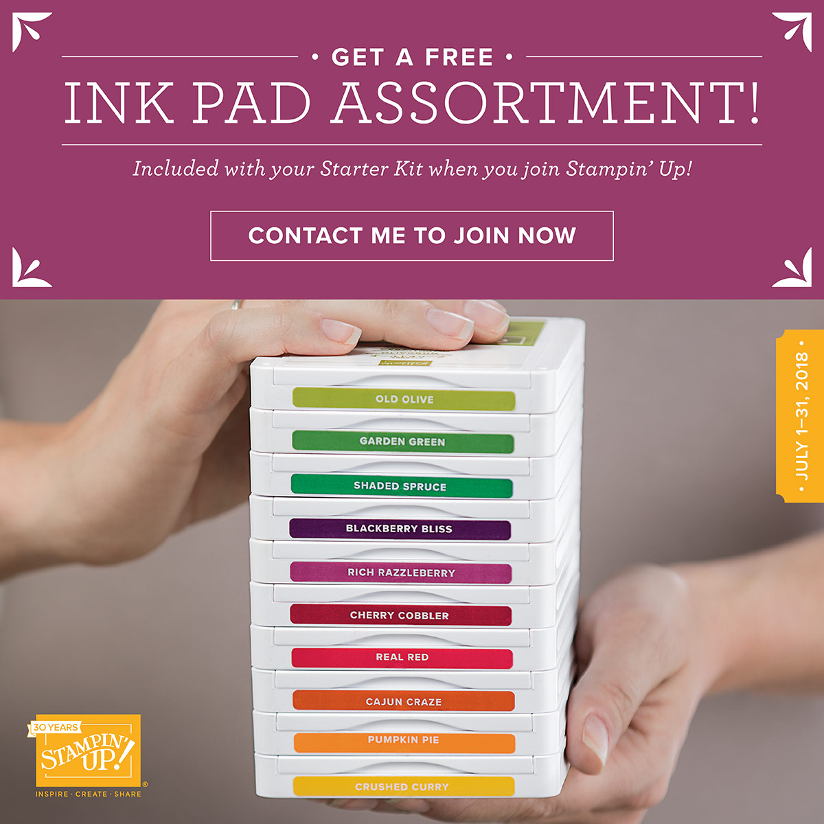 Buy the $99 Starter Kit in July, and get $125 in products of your choice, plus an Ink Pad Color Family assortment (10 ink pads)!