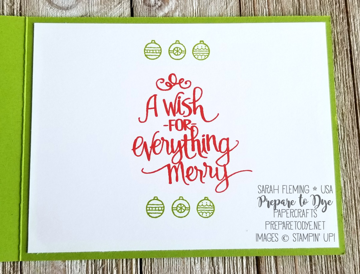 Stampin' Up! Christmas in July card with Ready For Christmas, Jar of Love, Christmas Staircase Thinlits, and Stampin' Blends alcohol markers - Sarah Fleming - Prepare to Dye Papercrafts