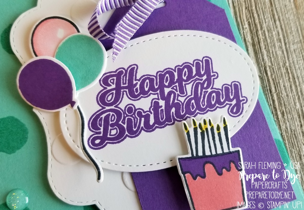 Stampin' Up! Blow Out the Candles bundle with Candles & Confetti framelits, Daisy Delight, Glitter Enamel Dots, Stampin' Blends - Sarah Fleming - Prepare to Dye Papercrafts