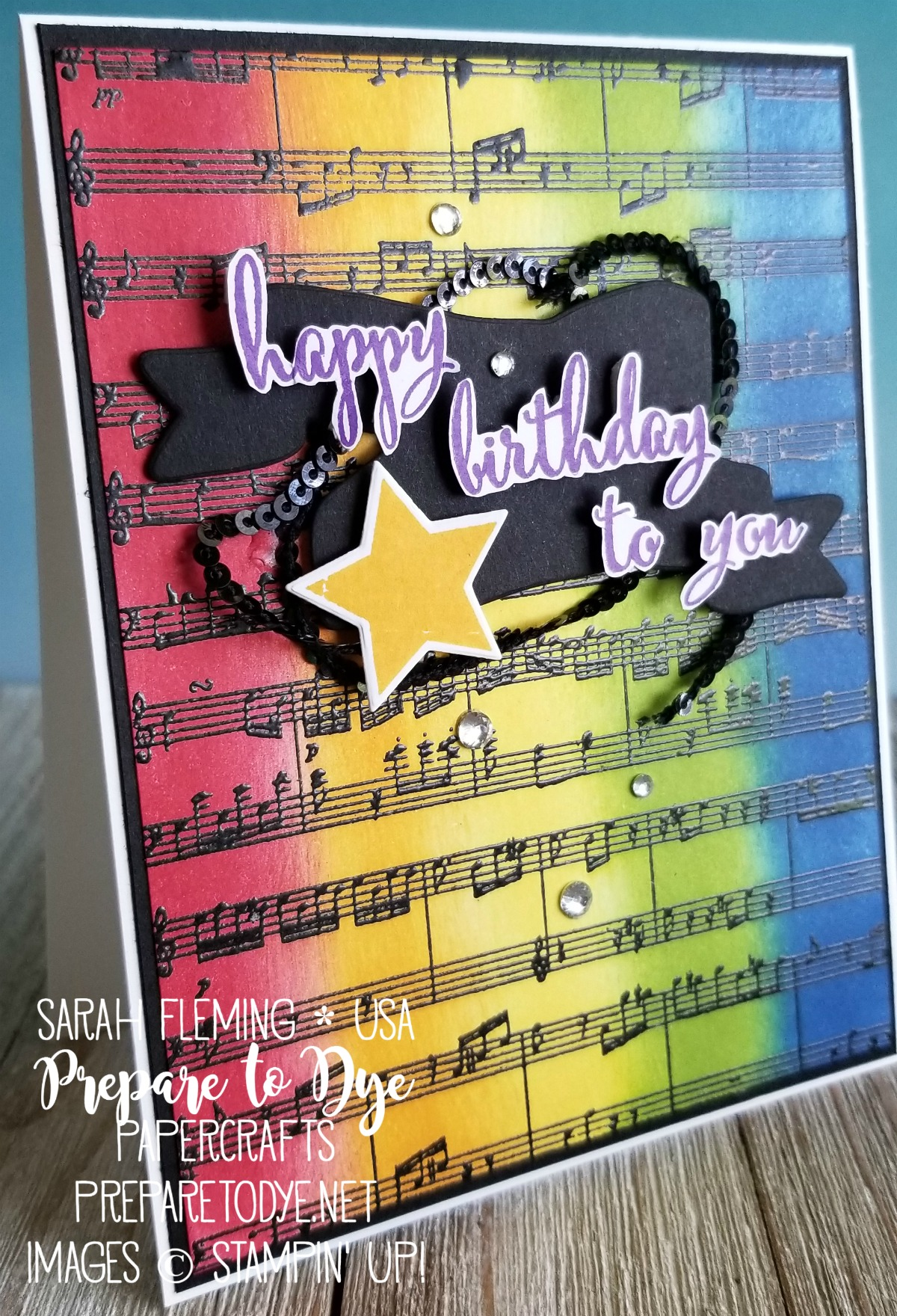 Stampin' Up! birthday card with Make A Difference, Sheet Music, Wood Words stamps, Bunch of Banners framelits, Wood Crate framelits - Sarah Fleming - Prepare to Dye Papercrafts
