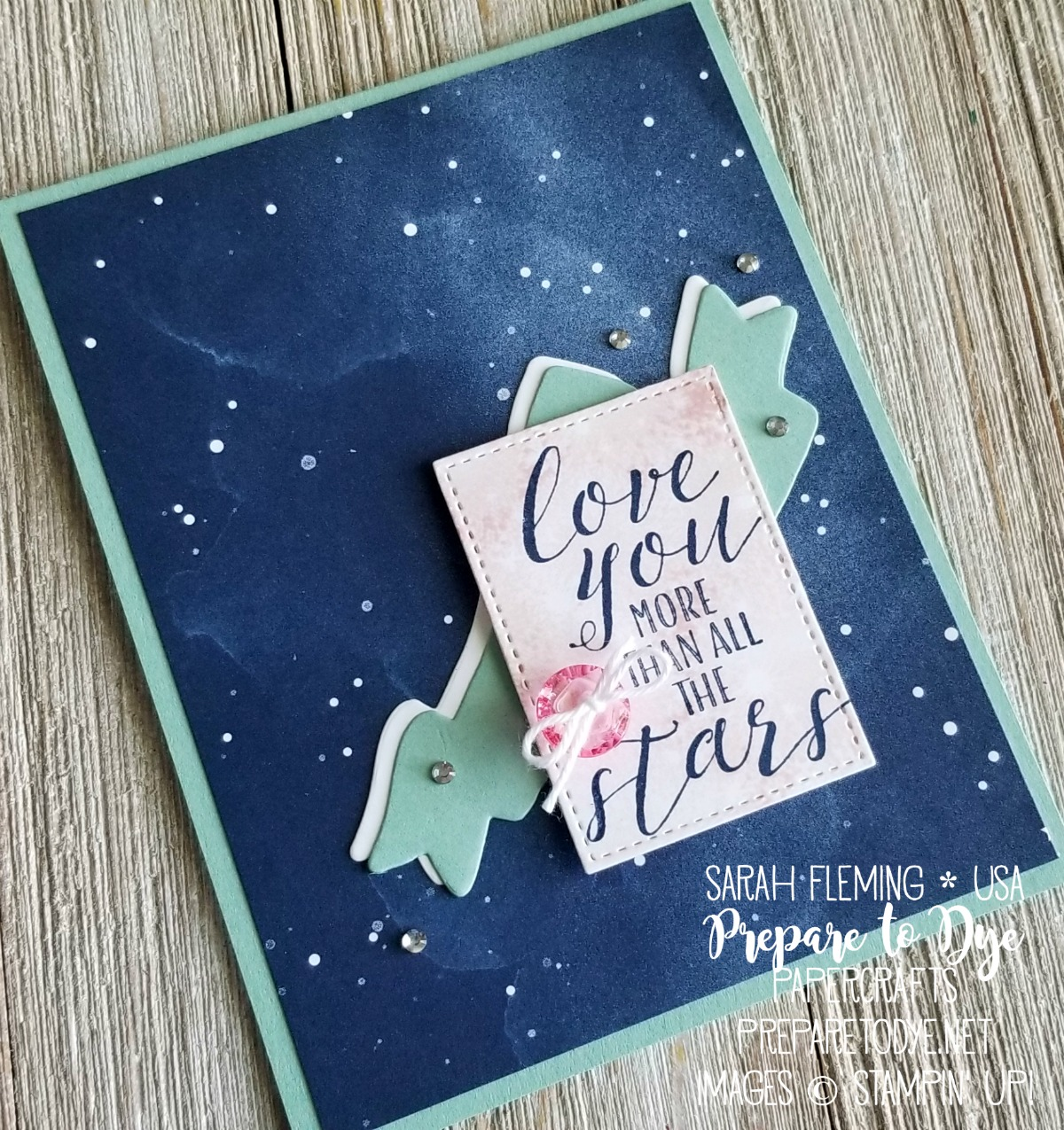 Stampin' Up! Little Twinkle and Bokeh Dots stamp sets with Twinkle Twinkle paper, Stitched Shapes framelits, Bunch of Banners framelits, Tinted Faceted Gems - Sarah Fleming - Prepare to Dye Papercrafts