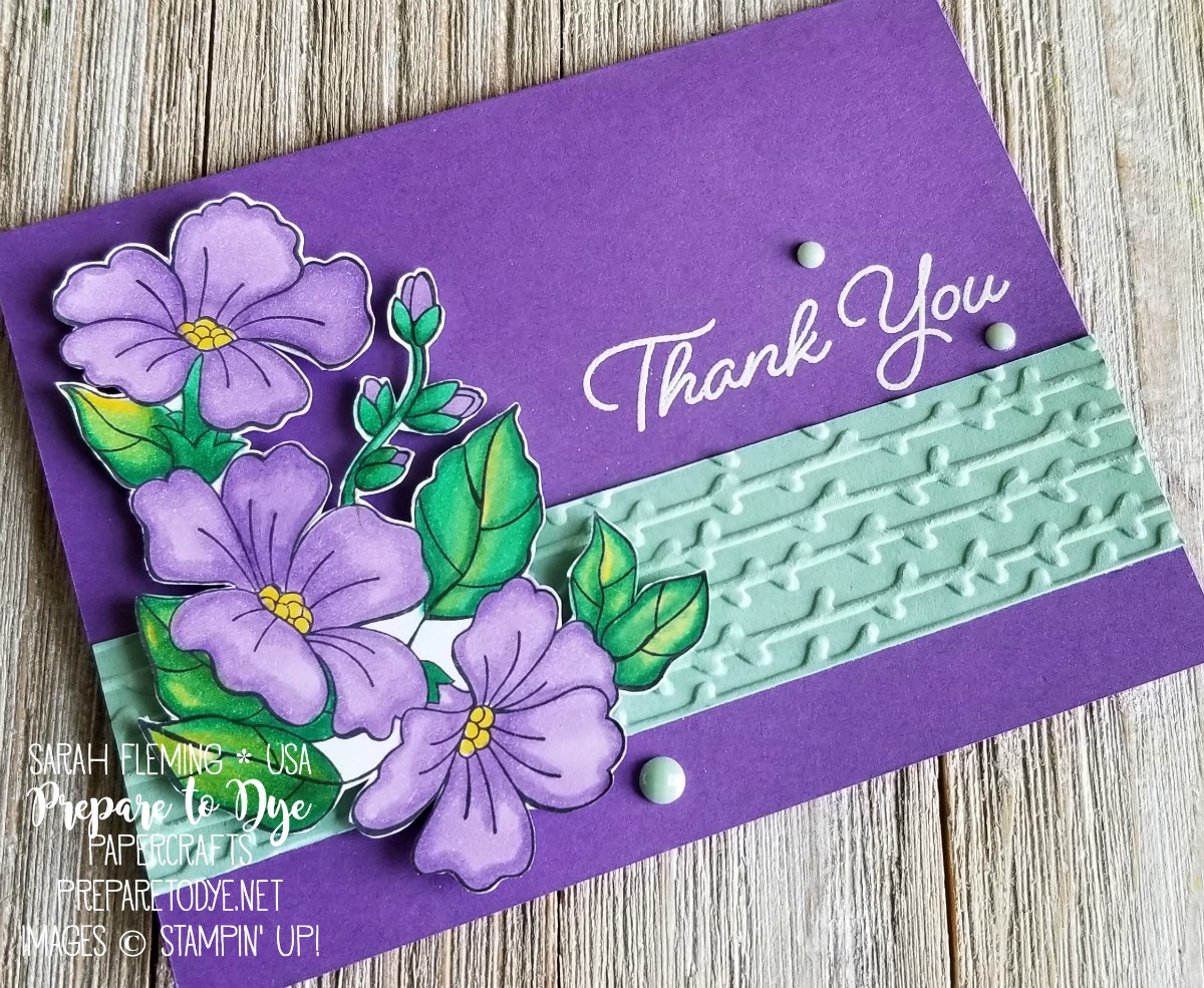 Stampin' Up! handmade thank you card using Blended Seasons stamp set with Petal Pair embossing folders, Faceted Dots, and Stampin' Blends alcohol markers - Sarah Fleming - Prepare to Dye Papercrafts