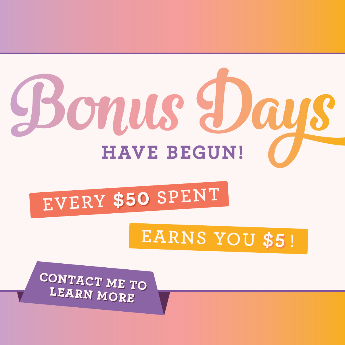 Bonus Days have begun! Earn coupons in August, spend in September - Order at sarahk.stampinup.net.
